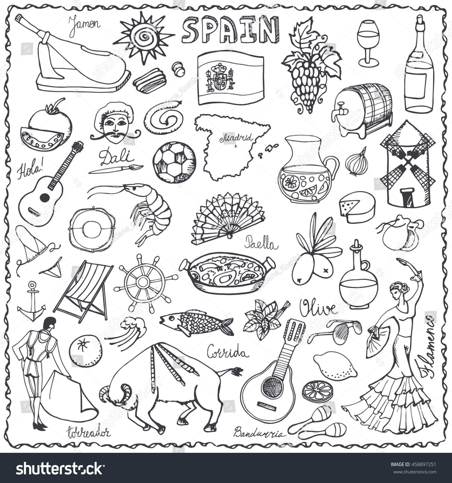 spain doodles elementsiconvector hand drawn doodle stock vector