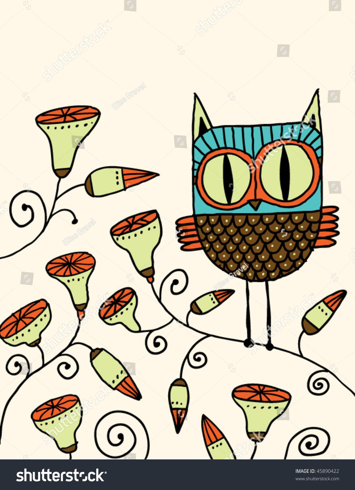 Cute Owl Doodle Stock Vector 45890422 - Shutterstock