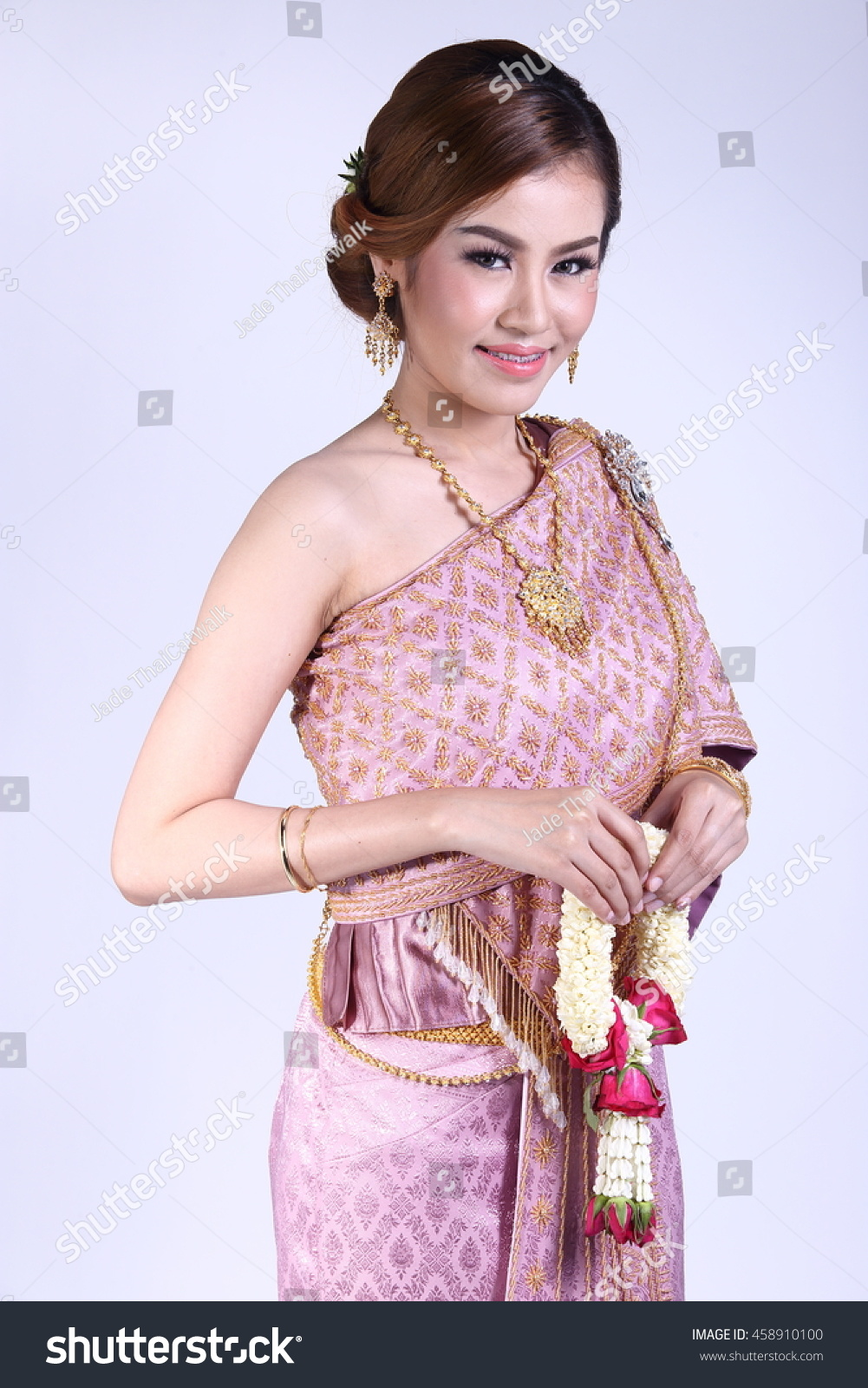 High Lady Wearing Traditional Thai Dress Stock Photo (Download Now ...