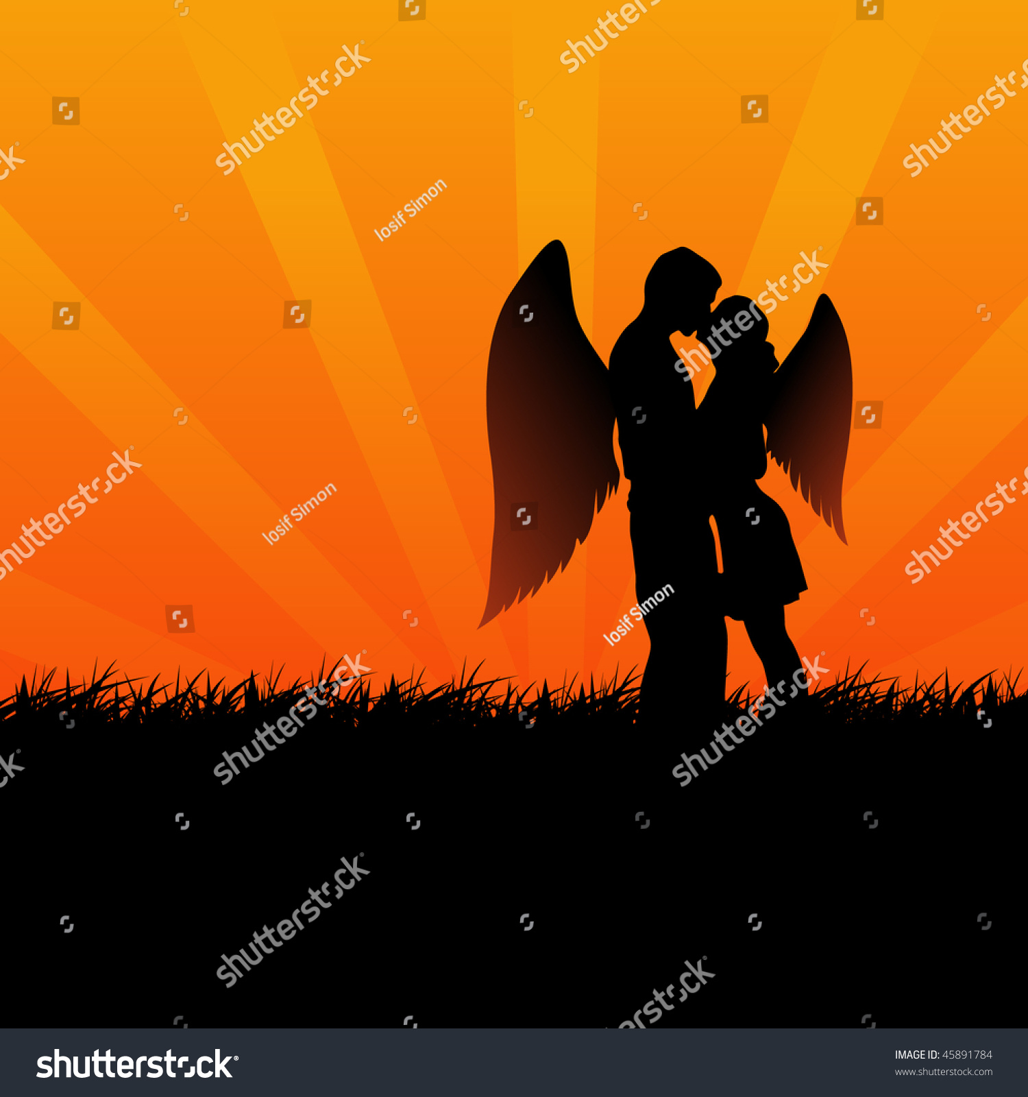 Two angel lovers kissing illustration 45891784 for 2 lovers pic