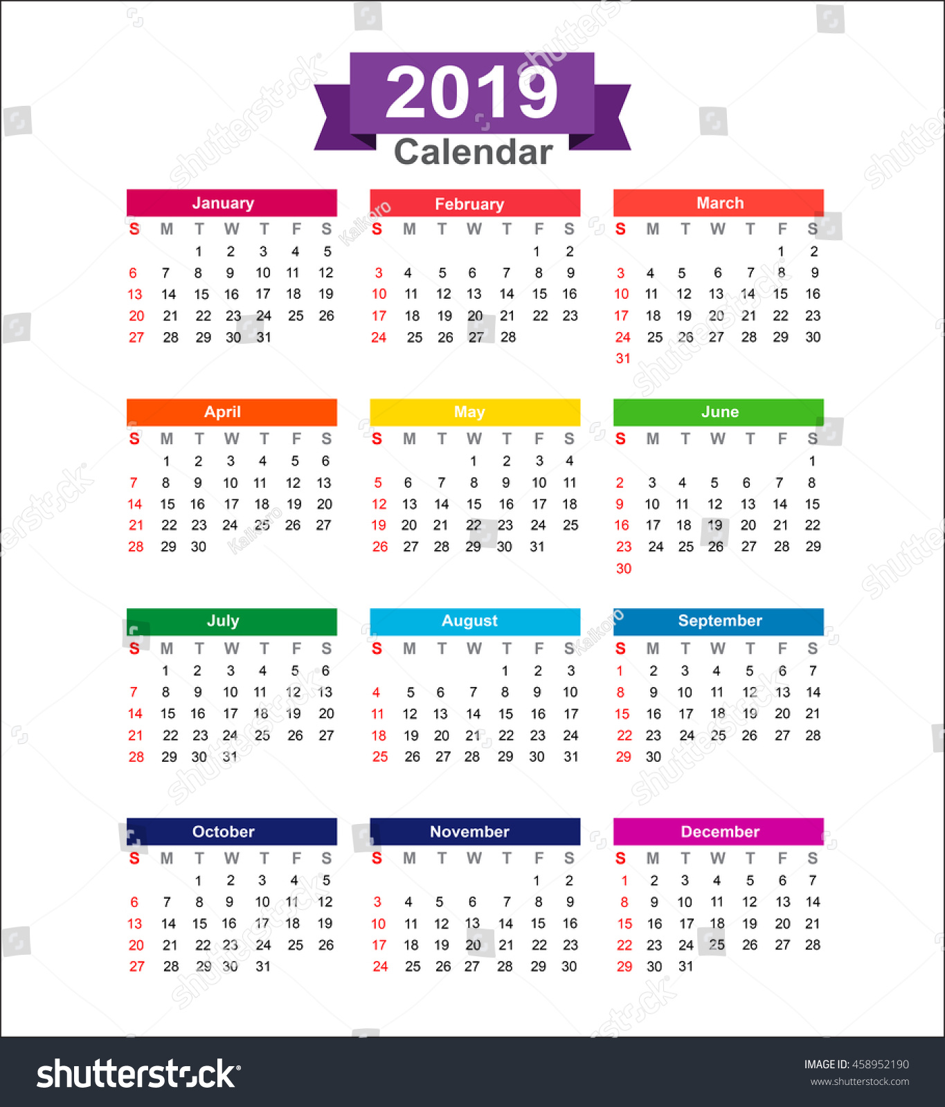 Calendar Background Vector : Year calendar isolated on white stock vector