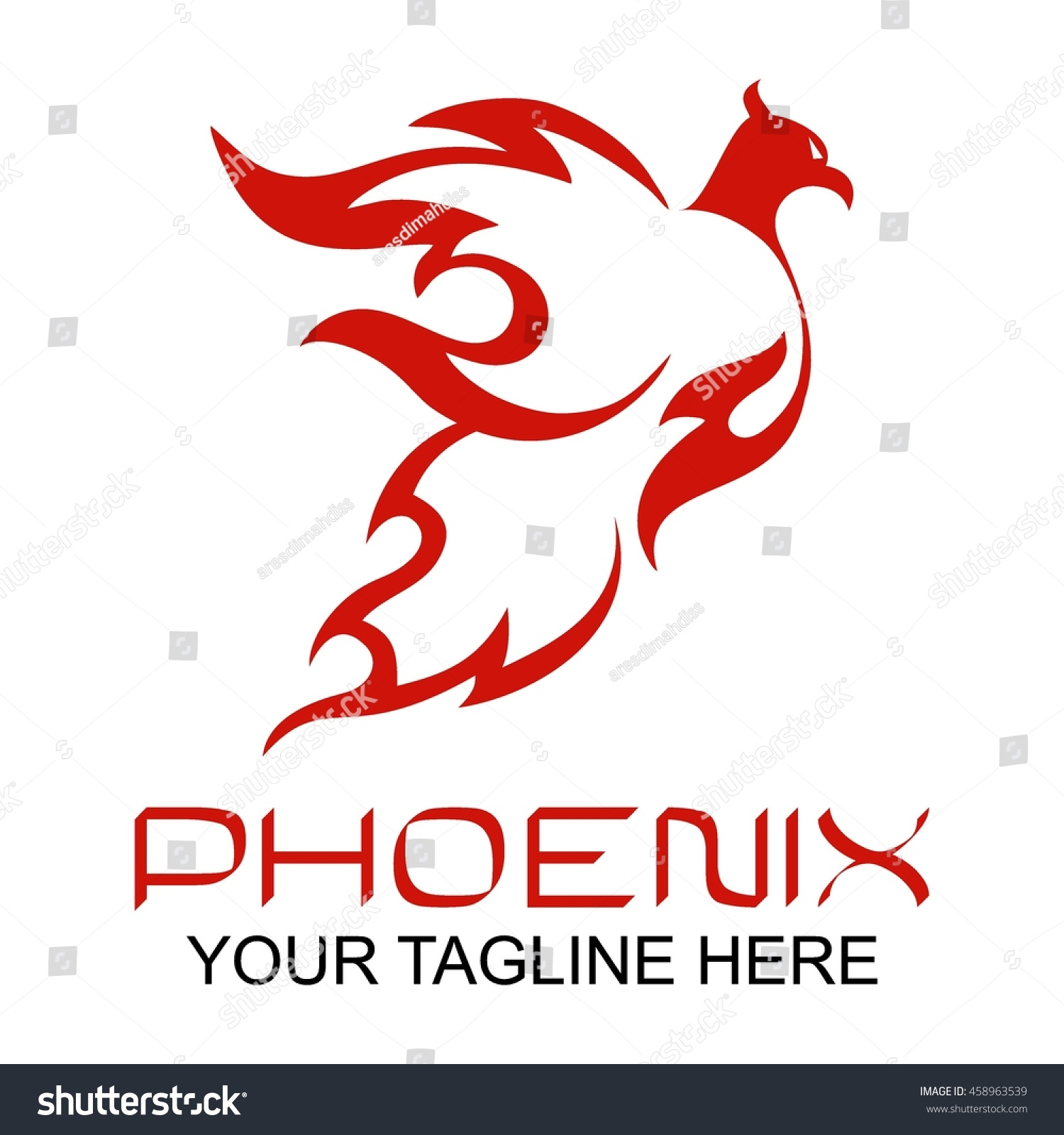 Phoenix logo template Fire-bird Eagle logo