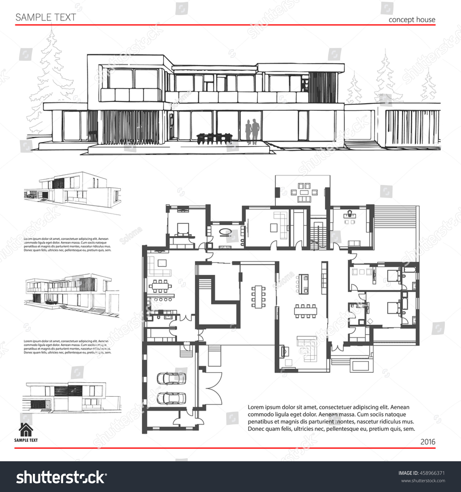 Wireframe Blueprint Drawing 3 D Building House Stock Vector ...