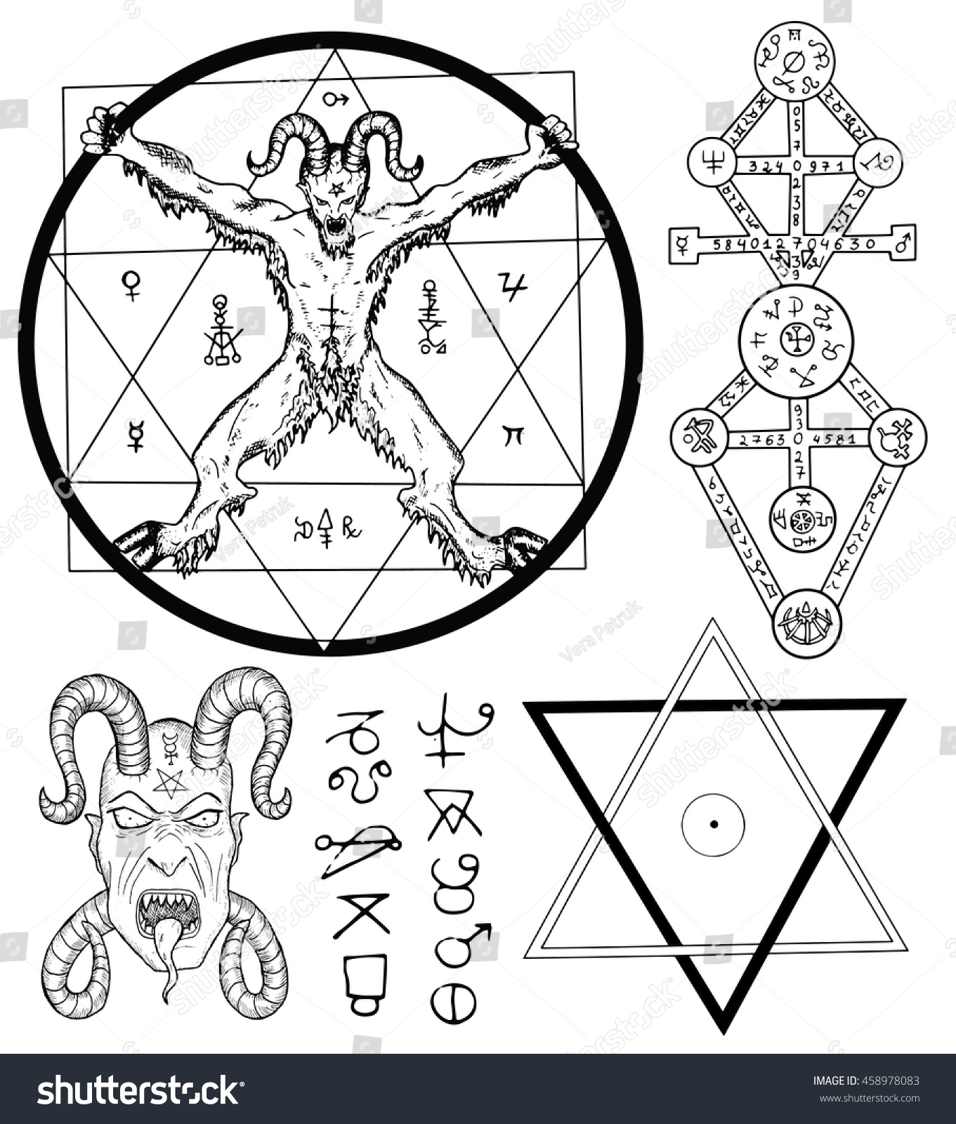 Magic set devil satan pentagram mystic stock vector 458978083 magic set with devil satan pentagram and mystic symbols collection of sketch illustrations buycottarizona