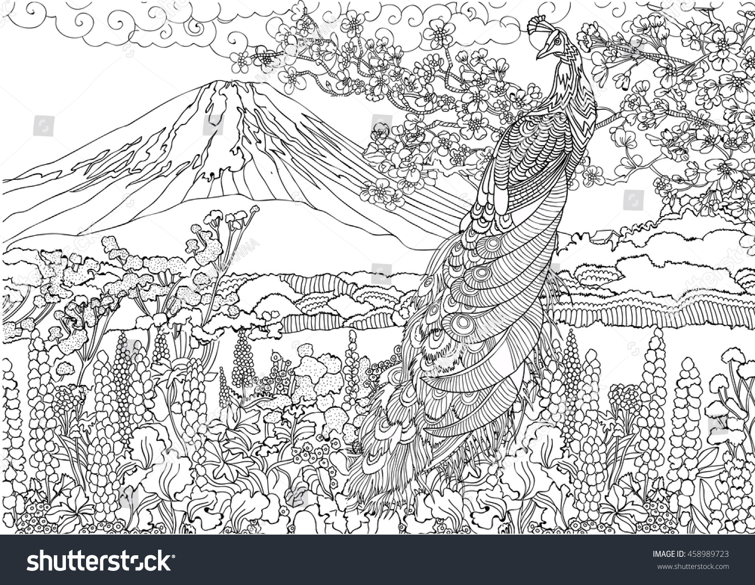 mountain in japan fujiyama landscape coloring pages beautiful peacock on the background - Mountain Landscape Coloring Pages