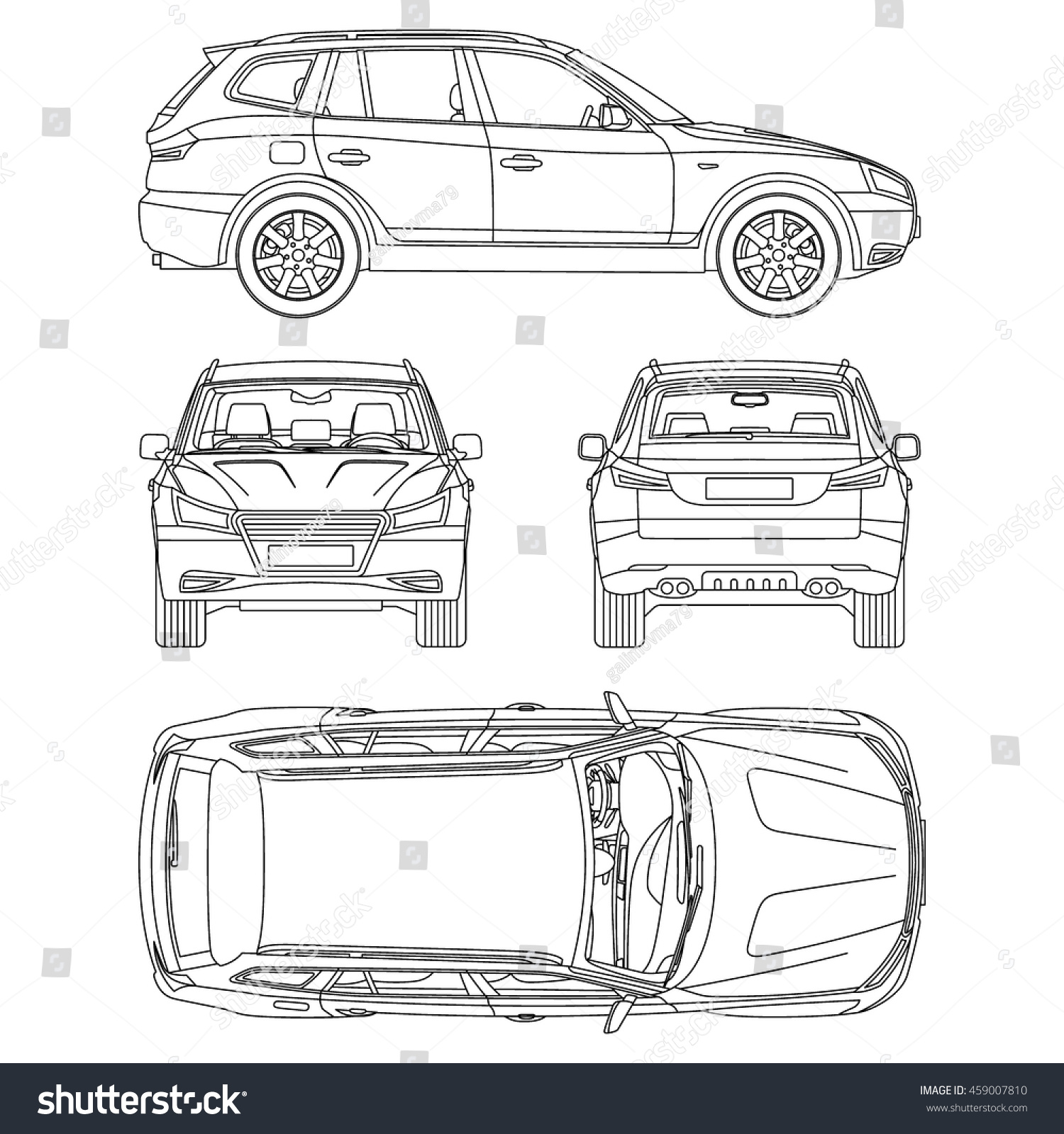 Car Suv Drawing Outline Stock Vector Shutterstock