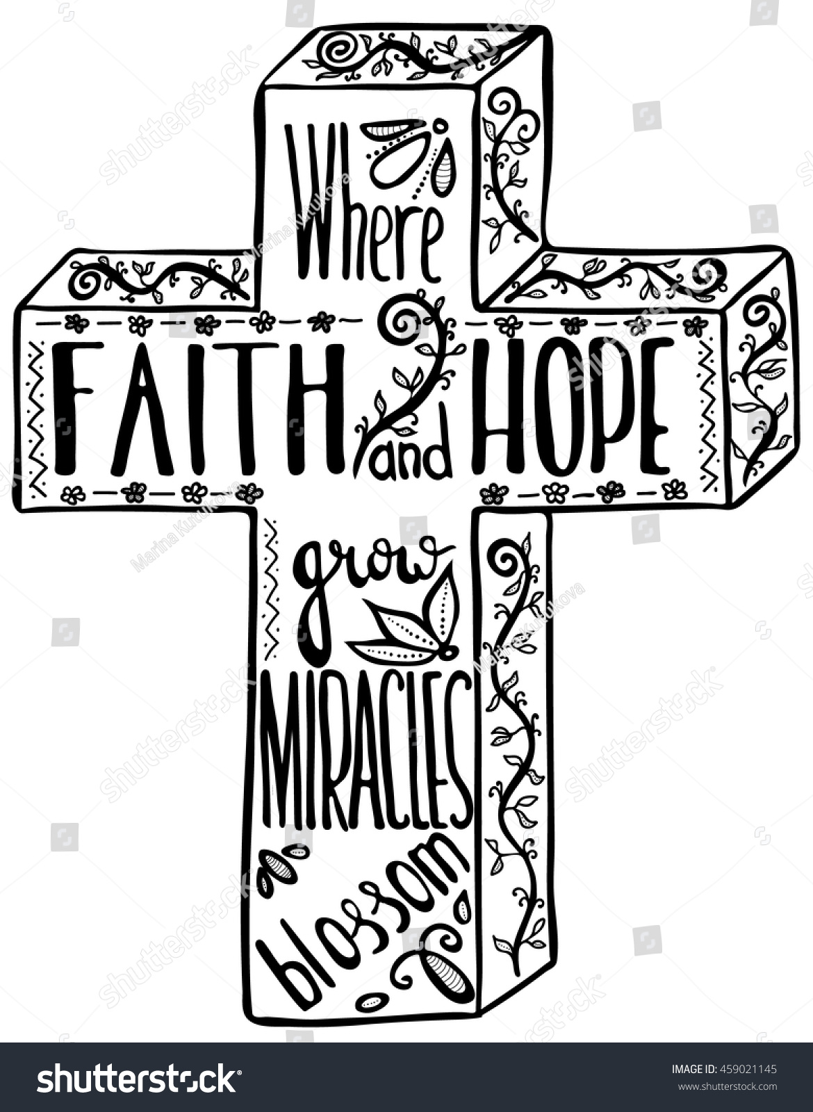 Faith and hope inspirational and motivational quote cross modern brush calligraphy hand