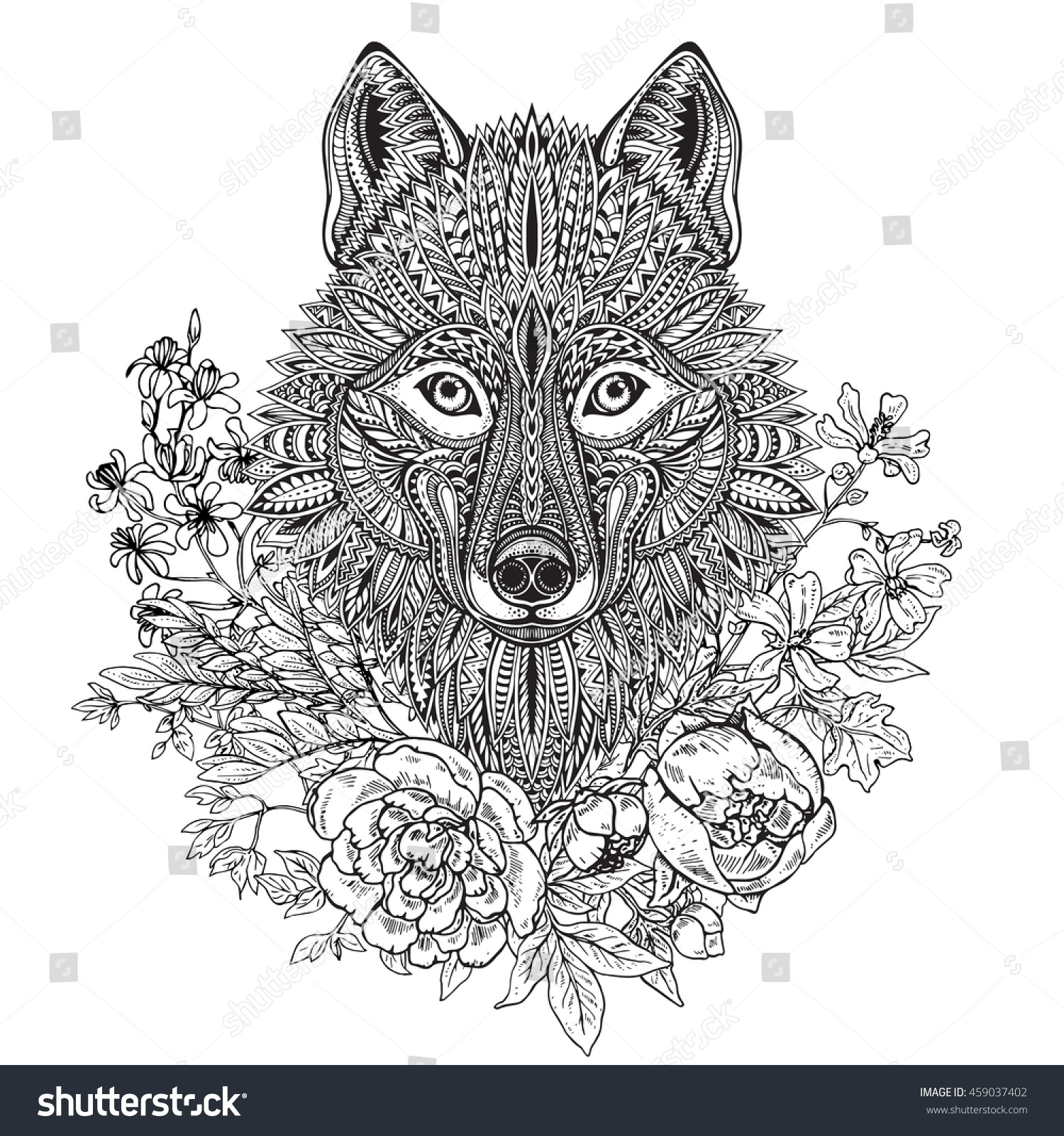 hand drawn graphic ornate head wolf stock vector 459037402