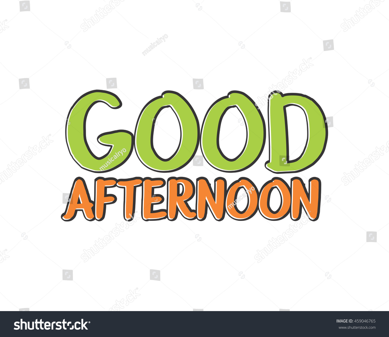 Good Afternoon Typography Typographic Creative Writing Stock Vector