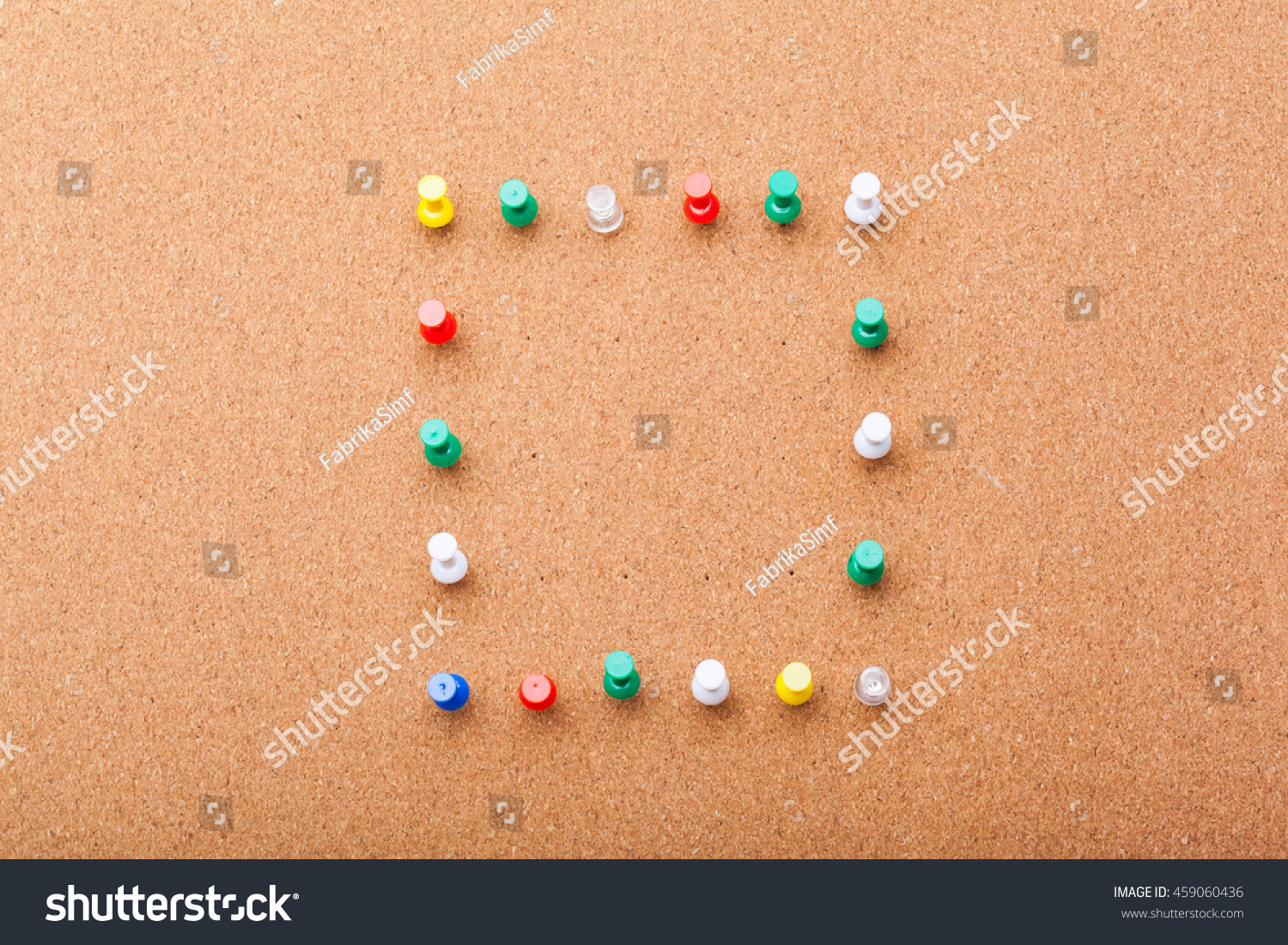 Free Stock Photo 10828 Five Colored Pins on Brown Cork