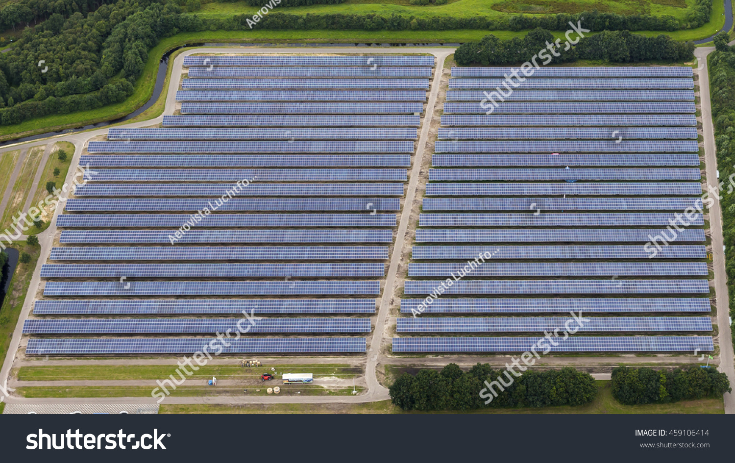 Aerial View Solar Panel Park Assen Stock Photo 459106414