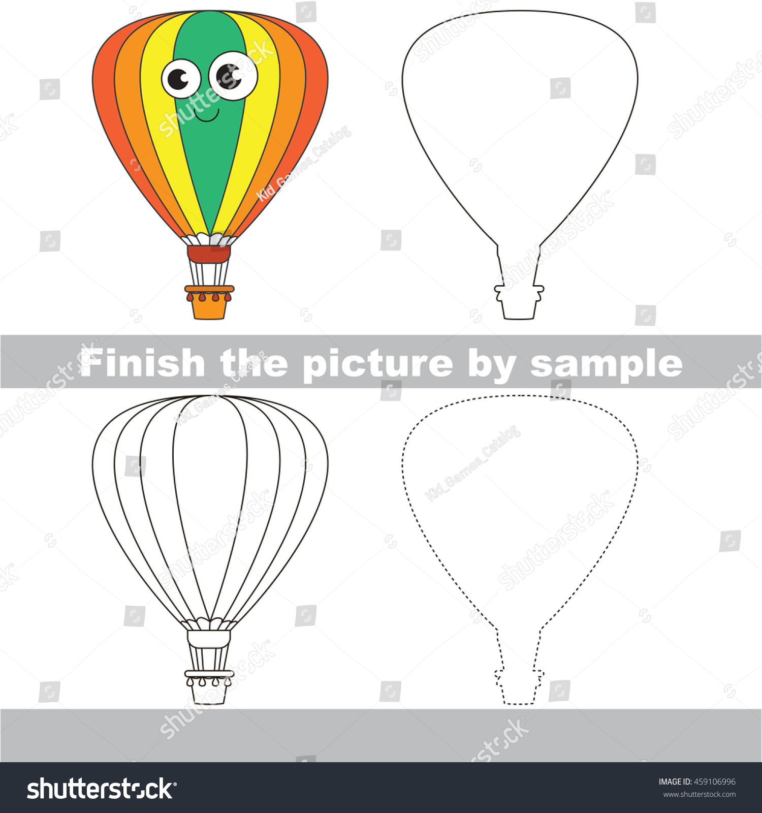 Drawing Worksheet Children Easy Educational Kid Stock Vector ...