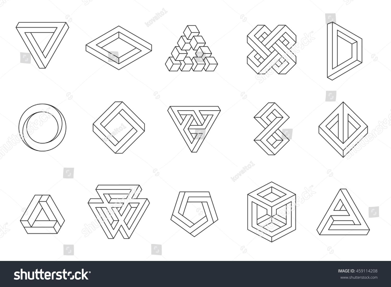 Line Design Element : Set impossible shapes web design elements stock vector