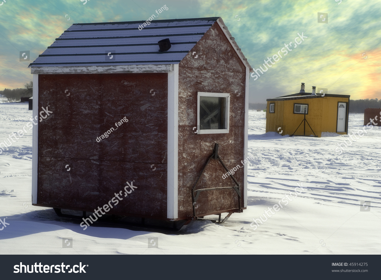 Temporary shacks used ice fishing situated stock photo for Used ice fishing houses for sale