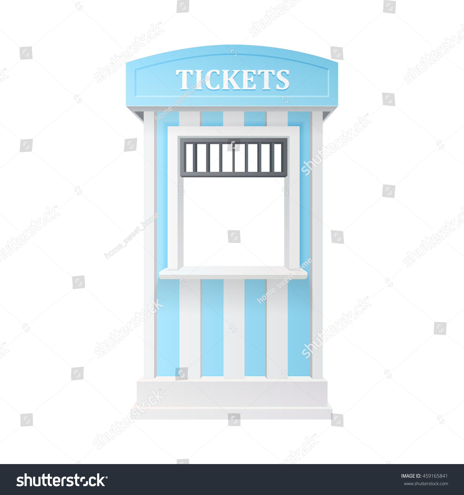 blue striped guard carnival information ticket window booth