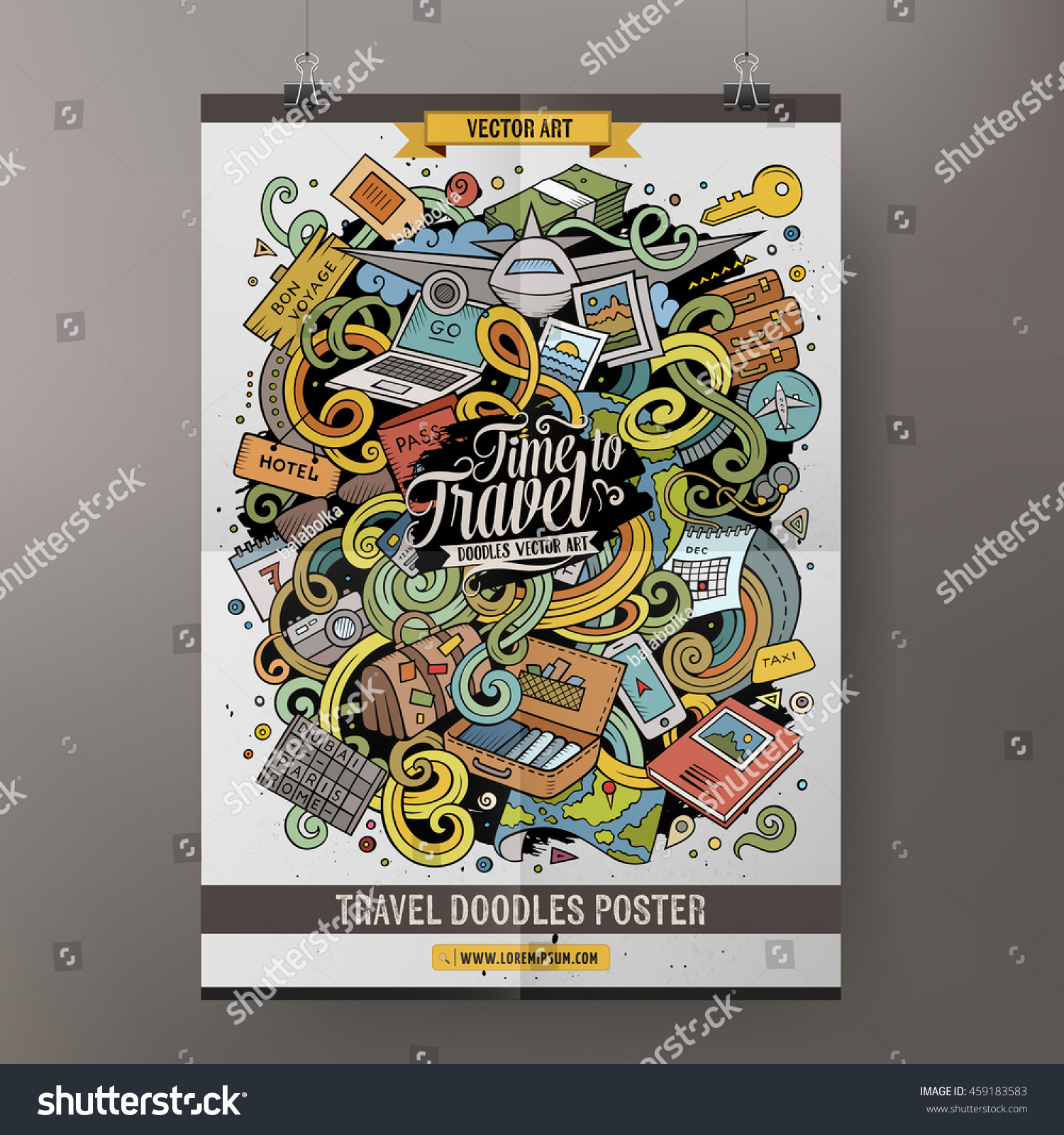 Cartoon colorful hand drawn doodles Traveling poster template Very detailed with lots of objects illustration Funny vector artwork Corporate identity design