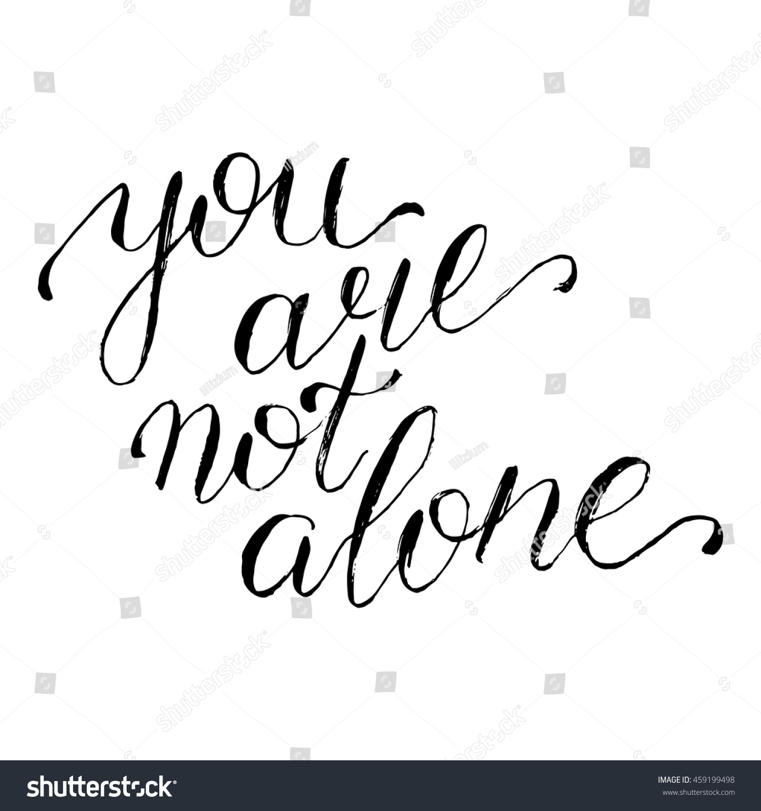You Not Alone Card Hand Drawn Stock Vector 459199498