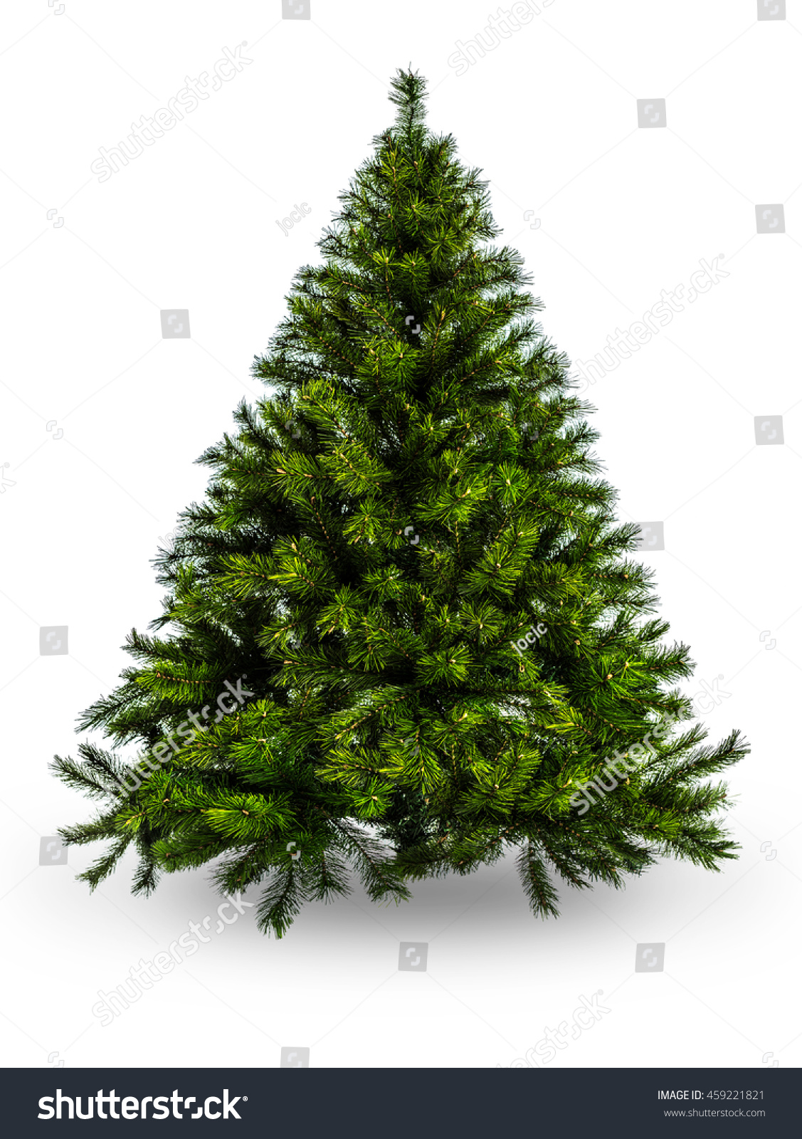 Artificial christmas tree without decoration on white