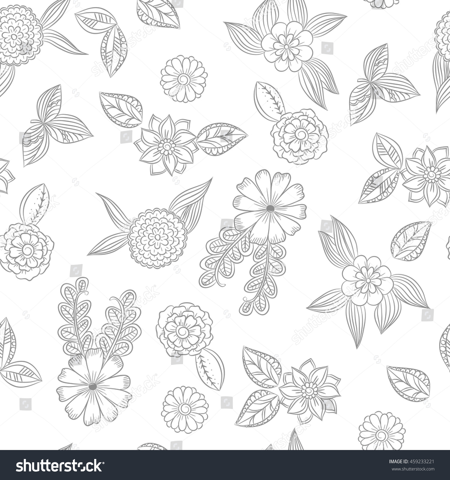 Vector Seamles Floral Pattern Black White Stock Vector