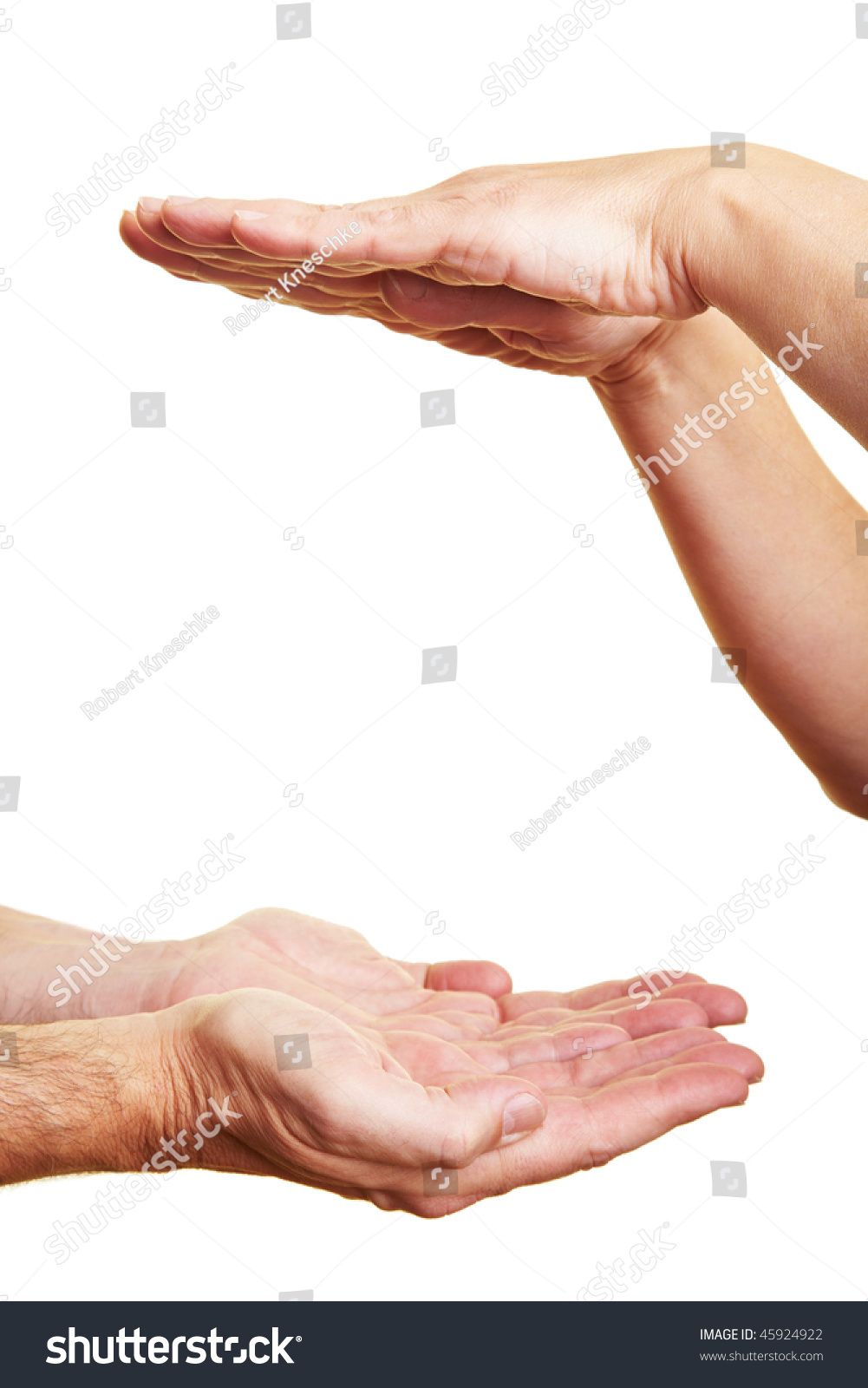 Two People Holding Their Hands Flat Stock Photo 45924922 ...
