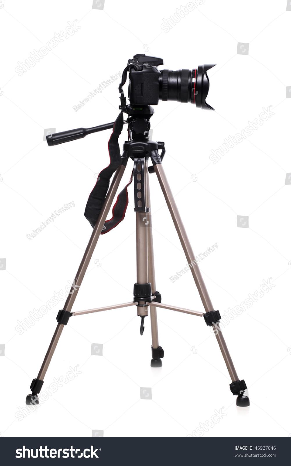 Photo Camera On Tripod Isolated White Stock Photo 45927046 ...