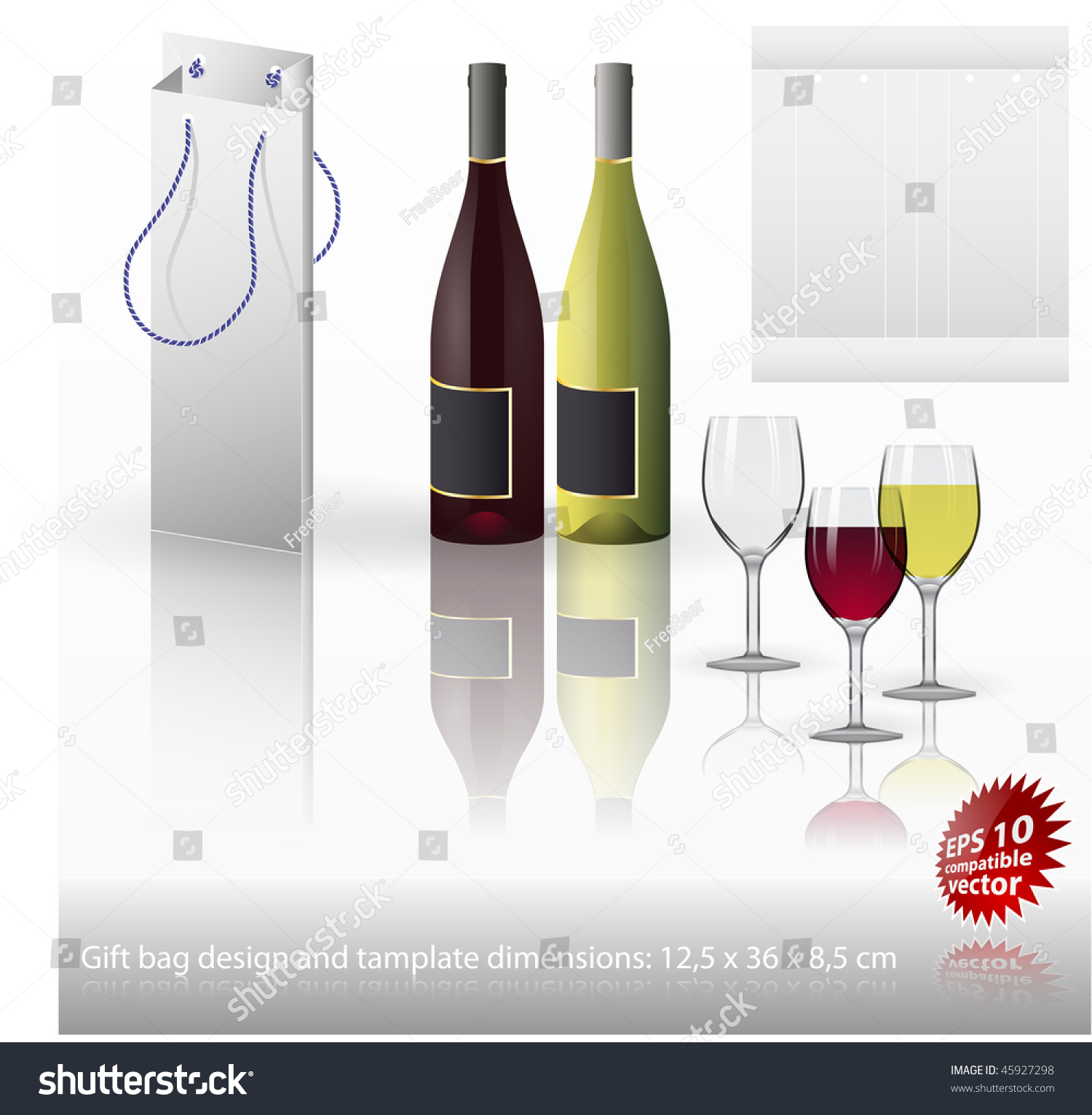 Wine Bottle Gift Bag Template Glasses Stock Vector Royalty Free