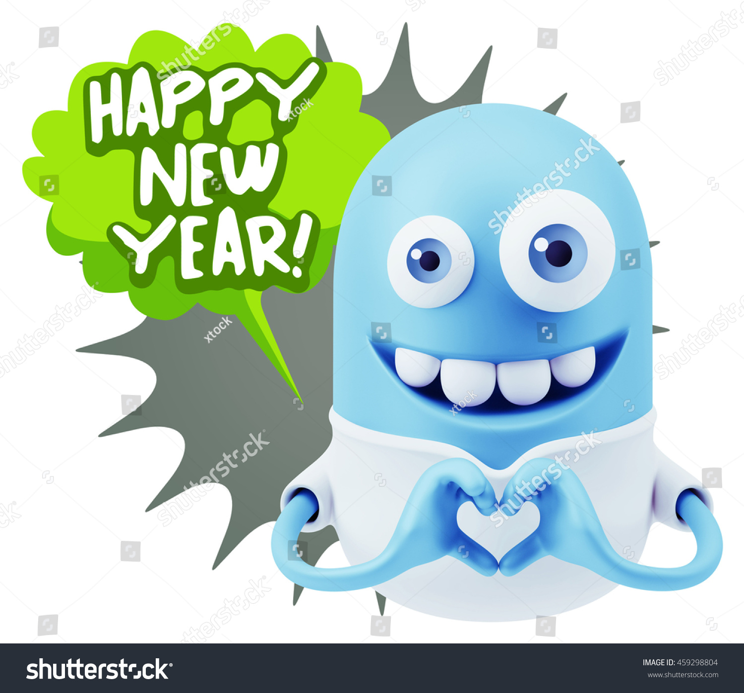 emoticon saying happy new year with colorful speech bubble