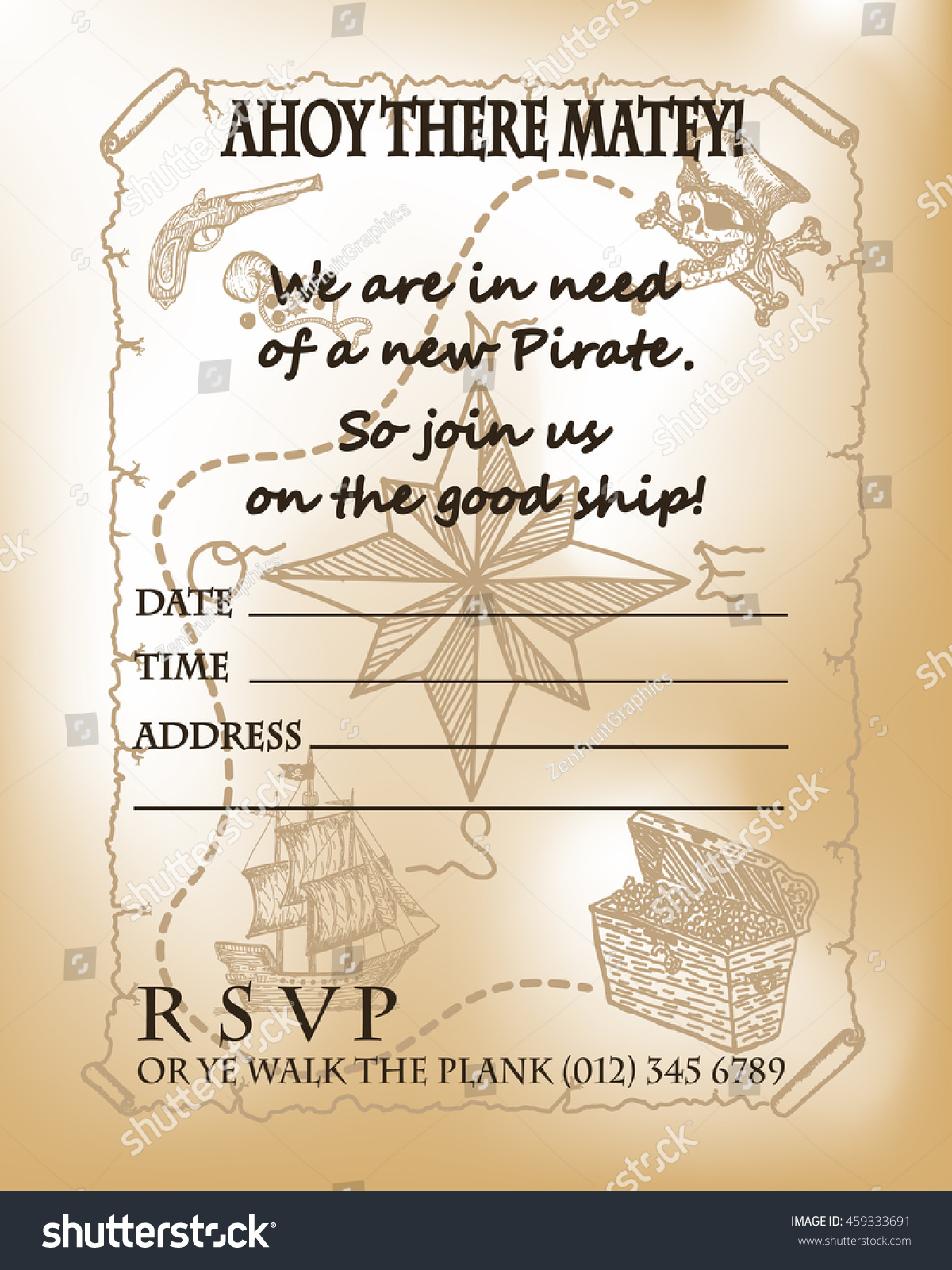 Pirate Party Invitation Card Design Pirate Stock Vector 459333691 ...