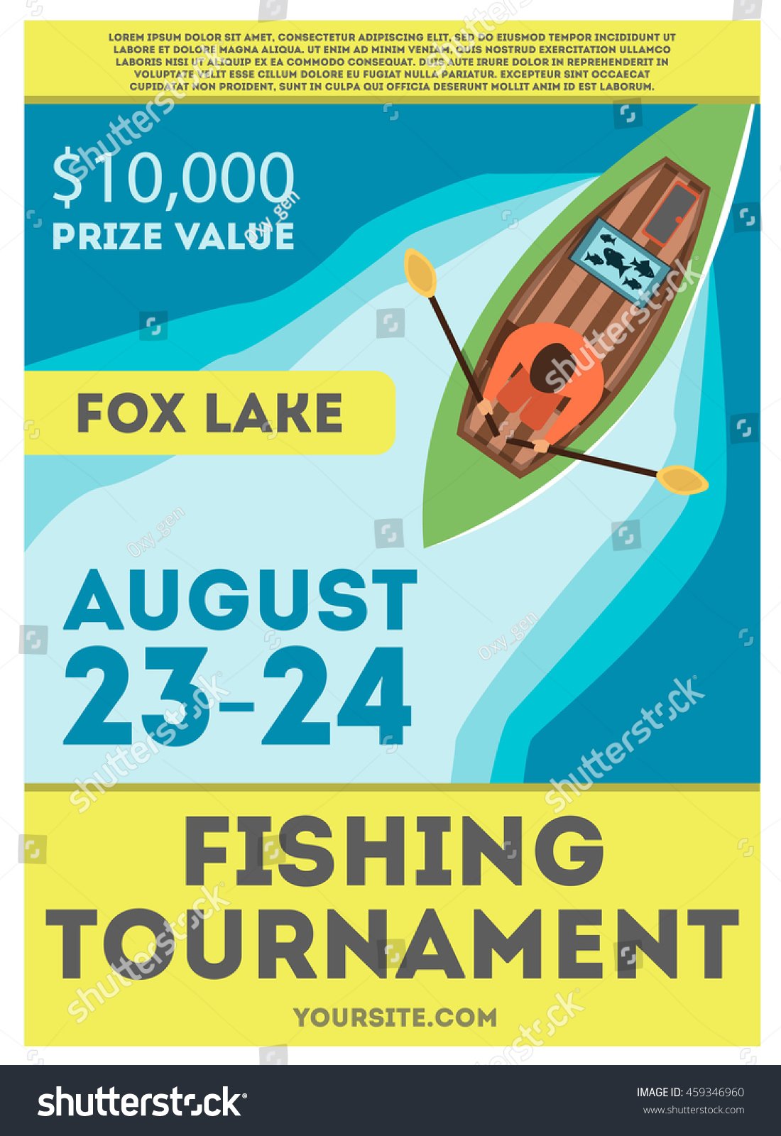 Fishing Tournament Flyer Poster Fisherman Kayak Stock Vector