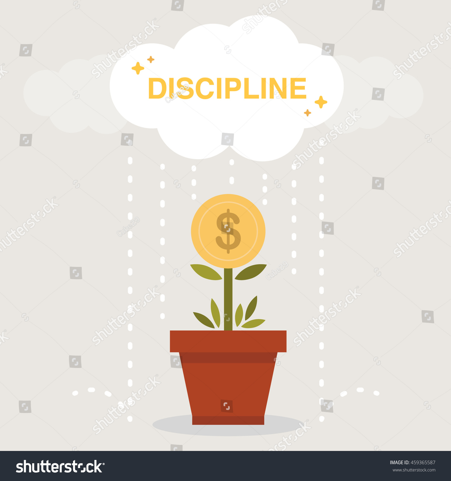 Watering Money Tree Discipline Long Term Stock Vector Royalty Free 459365587