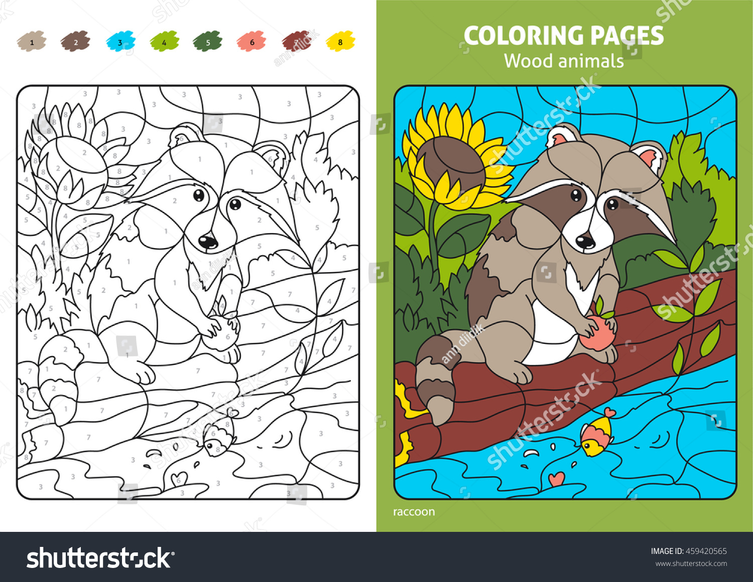 Wood Animals Coloring Page Kids Raccoon Stock Vector (2018 ...