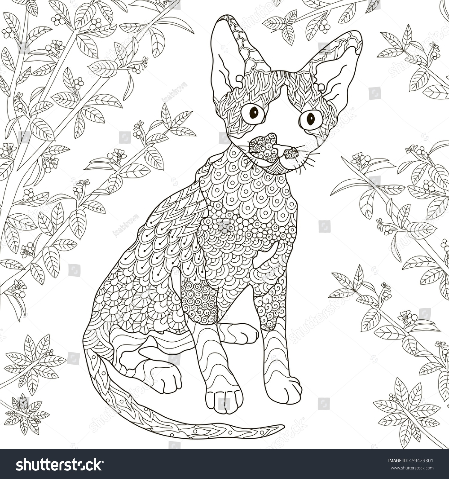Zen cat coloring page - Zentangle Stylized Devon Rex Cat For Coloring Page Anti Stress Monochrome Pattern Vector