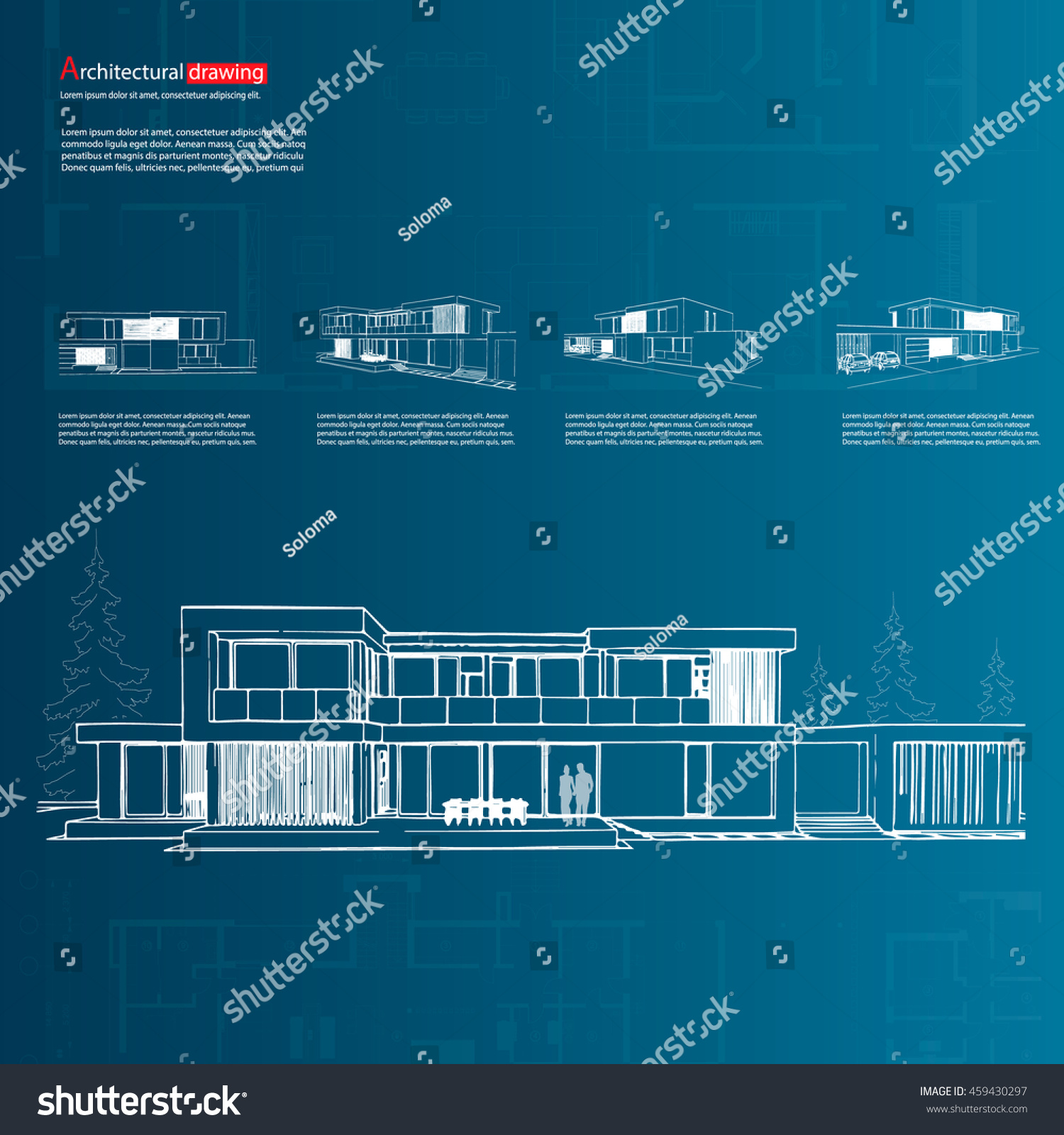 Wireframe blueprint drawing 3d building house stock vector hd wireframe blueprint drawing of 3d building house vector architectural template background malvernweather Image collections