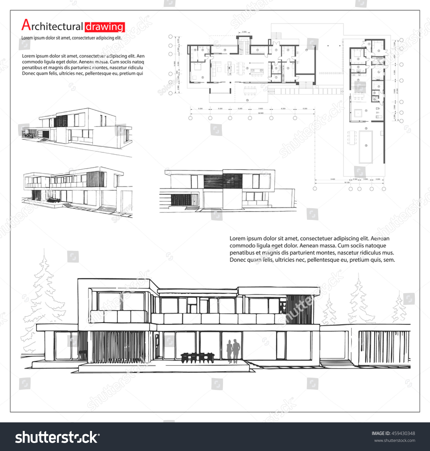 Wireframe blueprint drawing 3d building house stock vector wireframe blueprint drawing of 3d building house vector architectural template background malvernweather Gallery