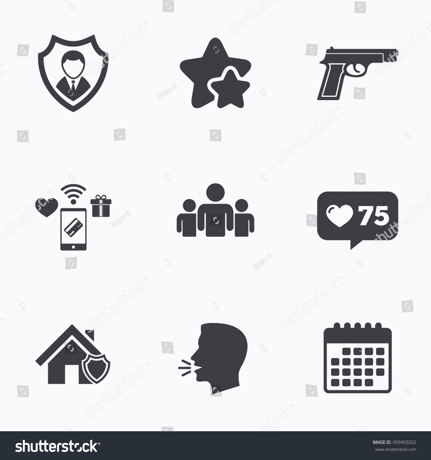 Security agency icons home shield protection stock illustration home shield protection symbols gun weapon sign group of people biocorpaavc
