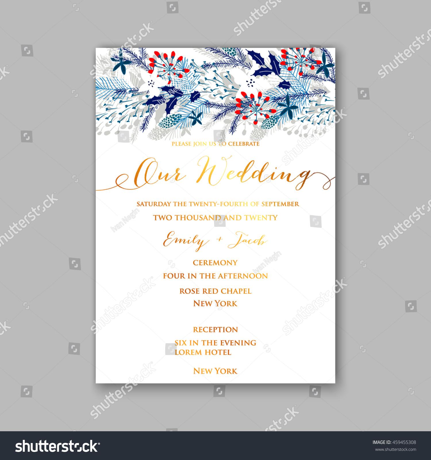 Floral Wedding Invitation Winter Christmas Wreath Stock Vector (2018 ...