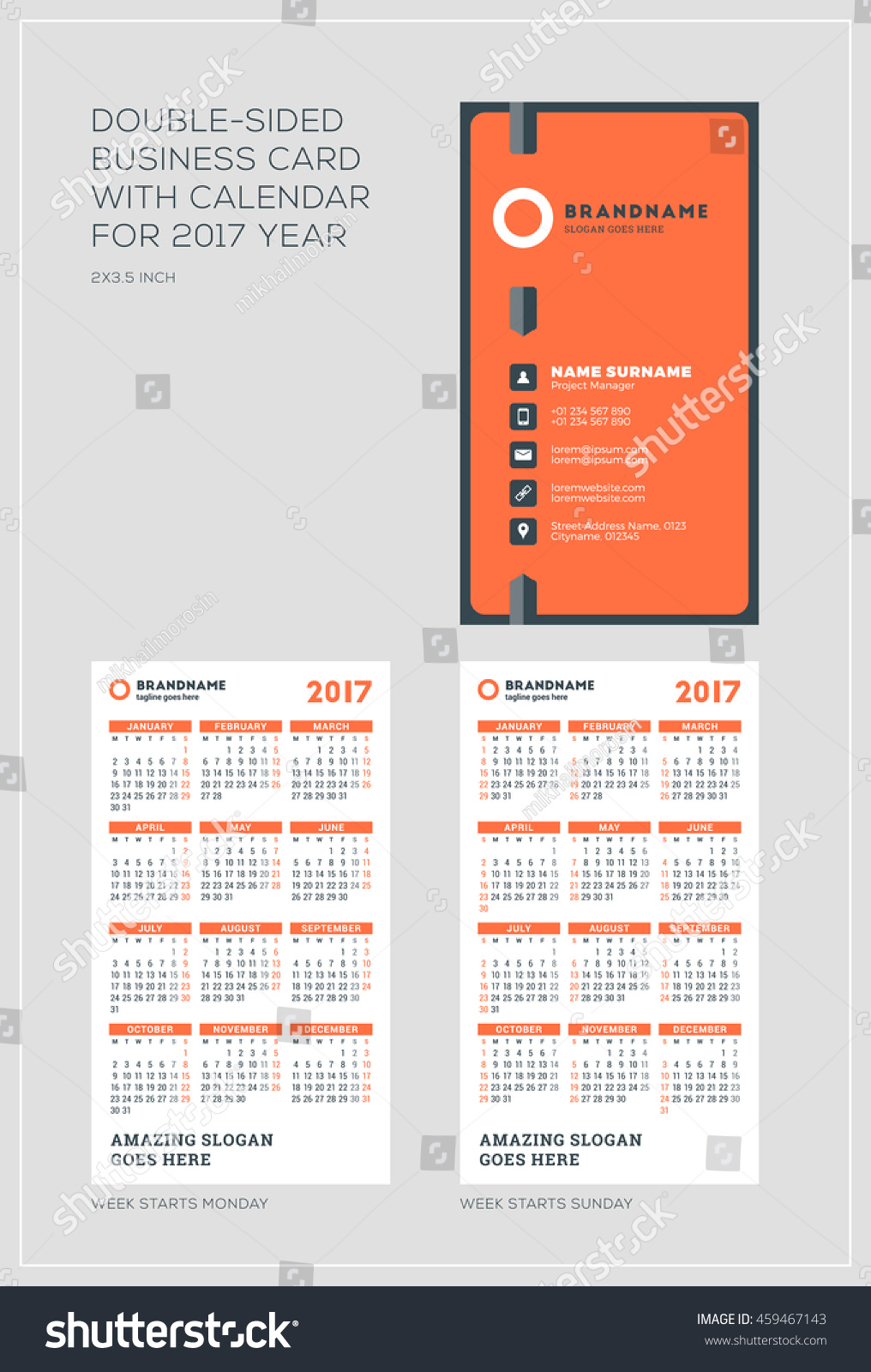 Doublesided vertical business card template calendar stock vector double sided vertical business card template with calendar for 2017 year week starts monday magicingreecefo Image collections