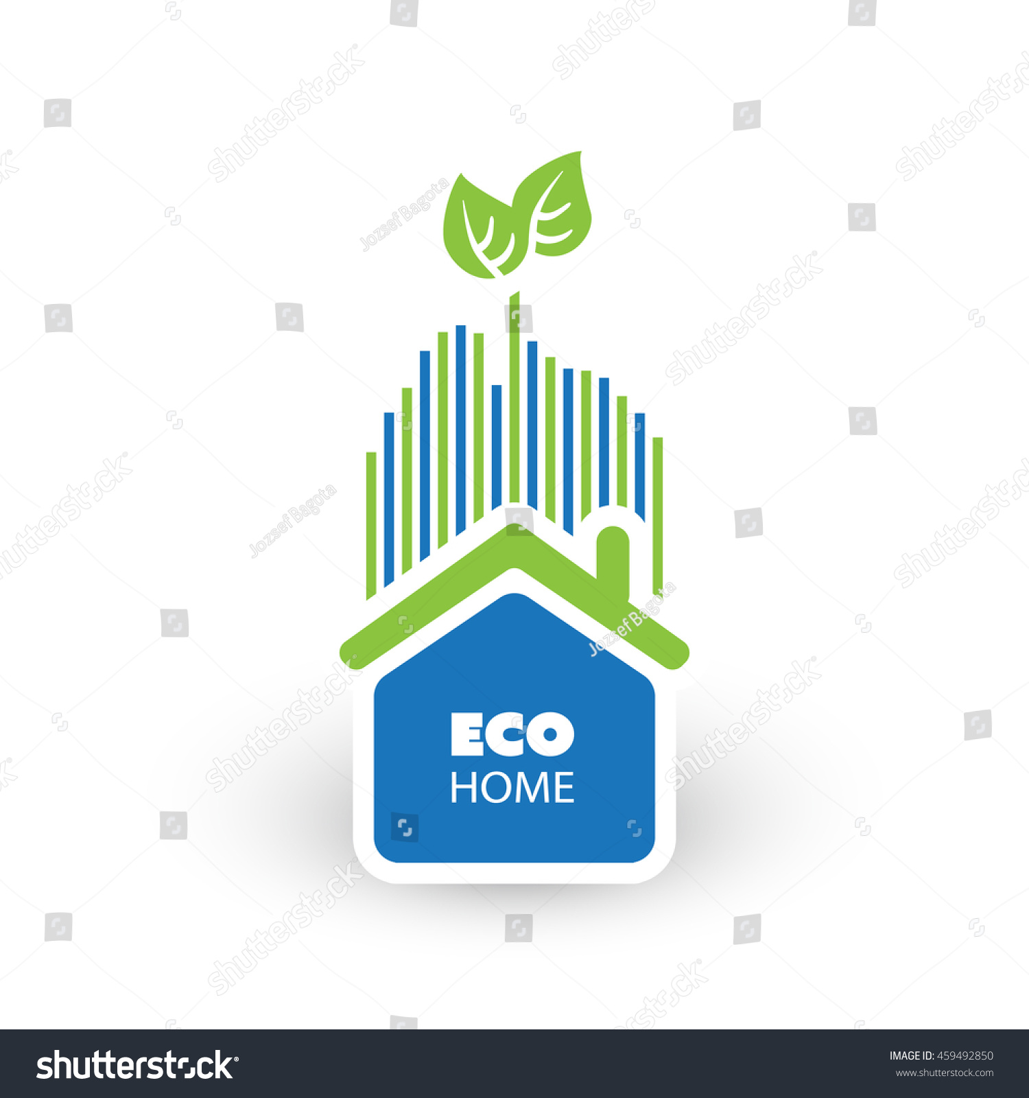 green eco friendly home concept illustration stock vector. Black Bedroom Furniture Sets. Home Design Ideas