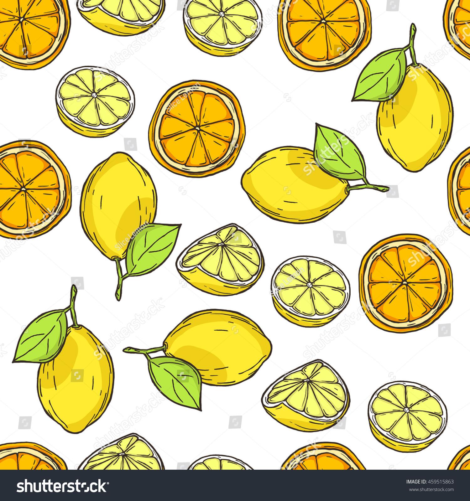 Seamless Decor Pattern Oranges Lemons Stock Vector