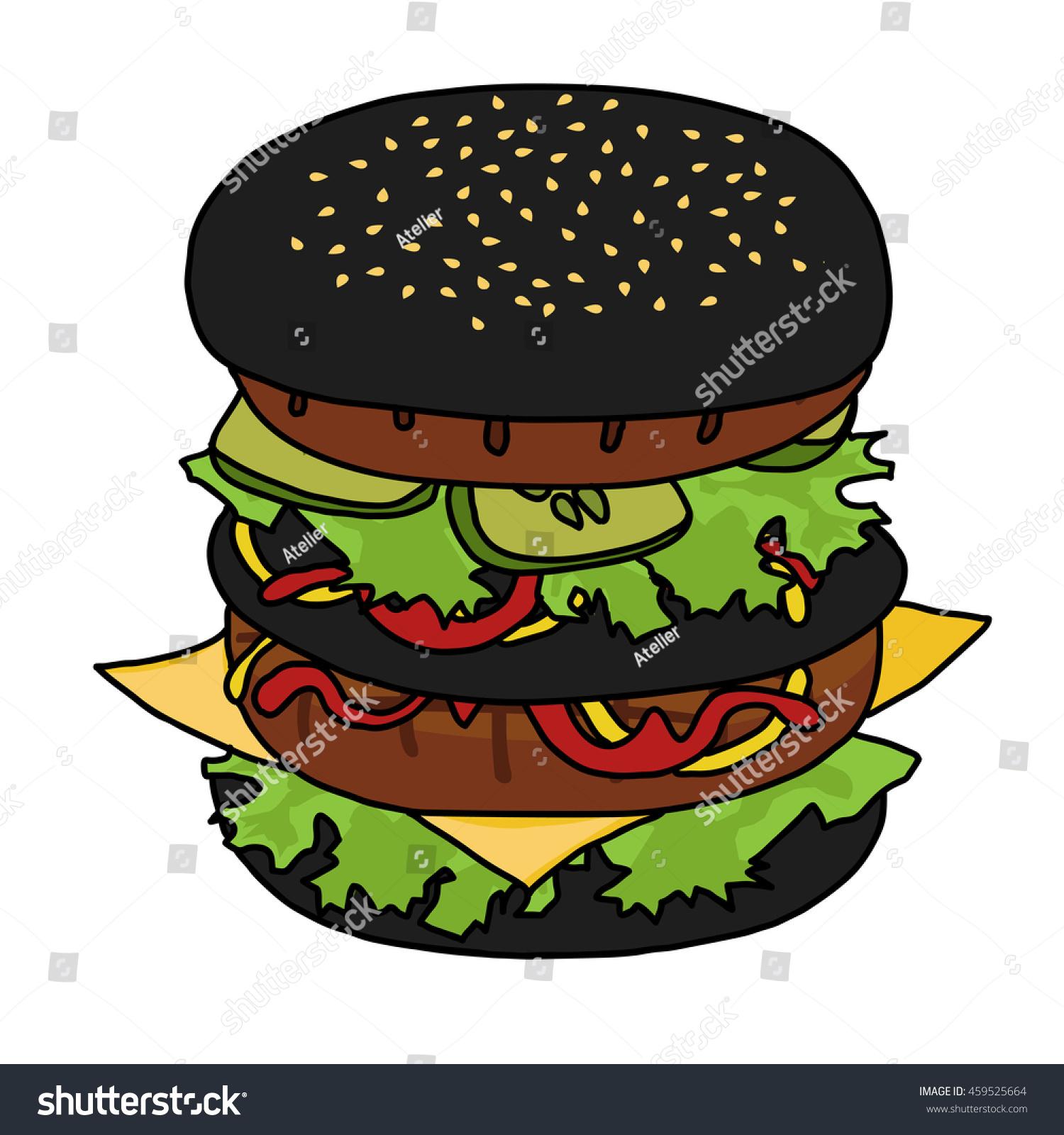 Vector Illustration Japanese Black Burger Hand Stock Vector - Black hamburger