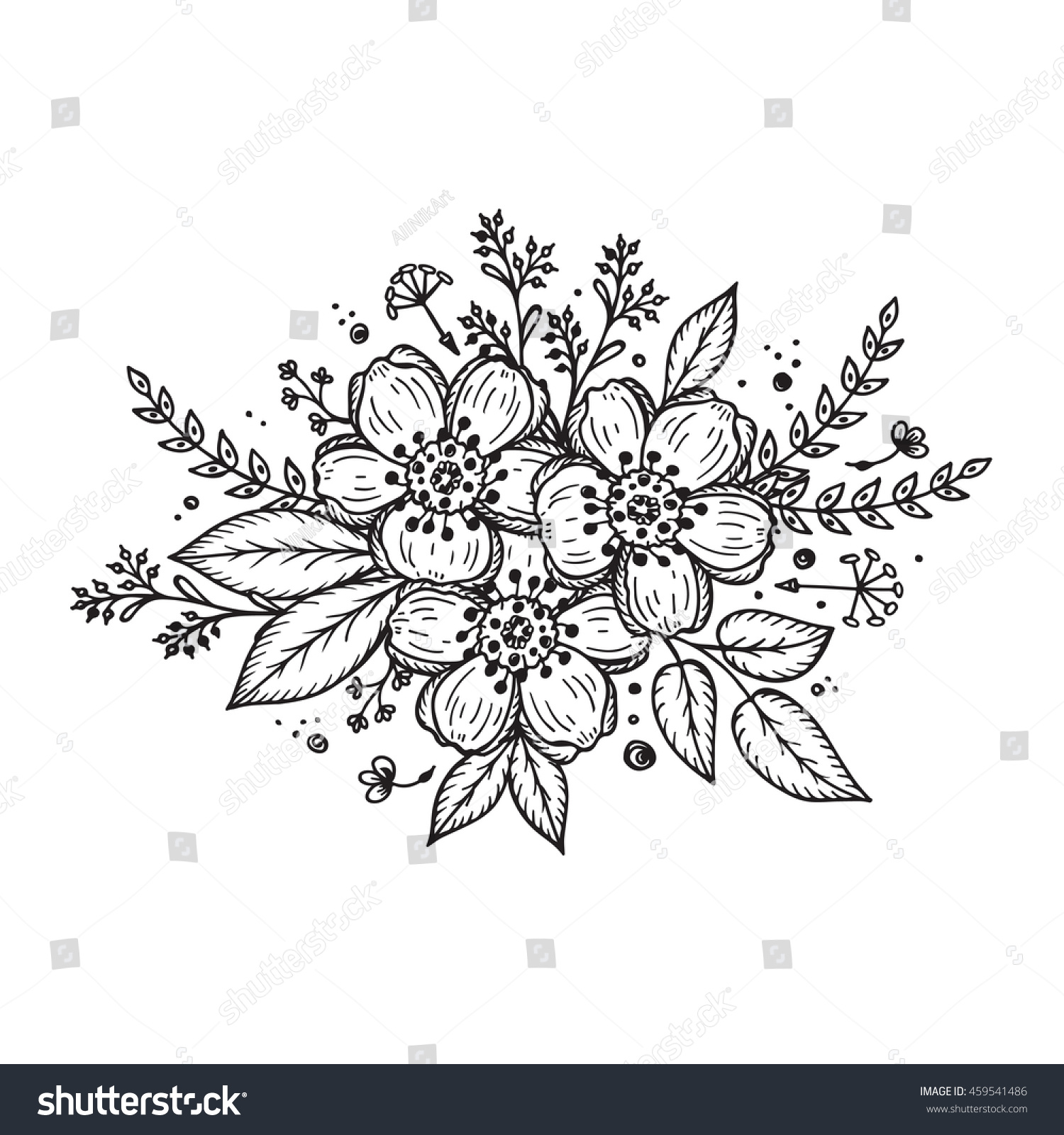 black white flower garland template invitation stock vector (royalty