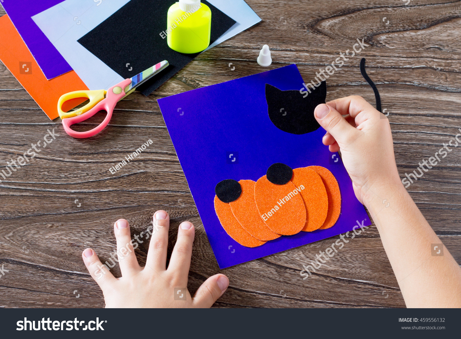 Child Create Greeting Card Halloween Paper Stock Photo Edit Now