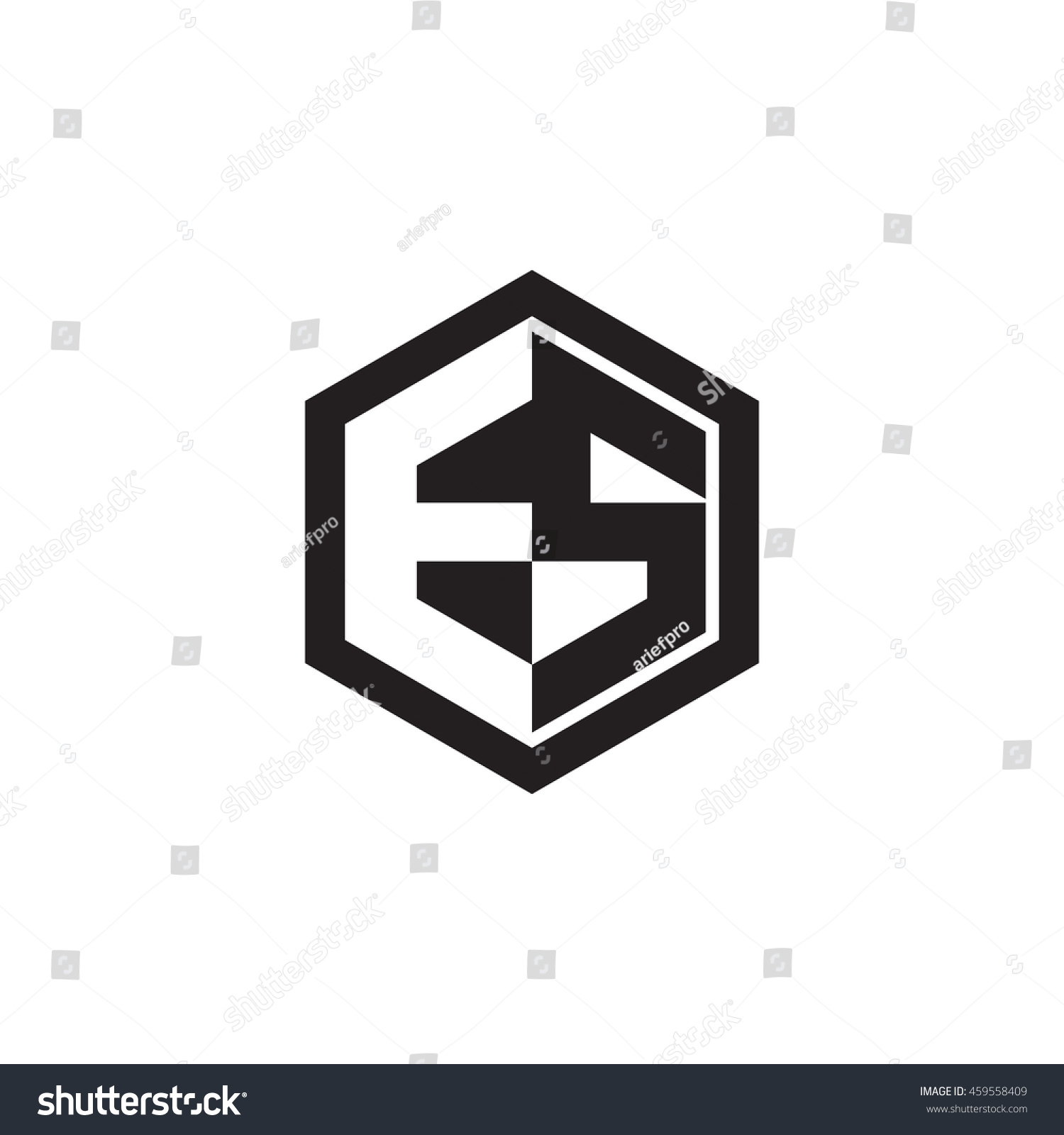 Initial Letters Es Negative Space Hexagon Stock Vector Royalty Free 459558409