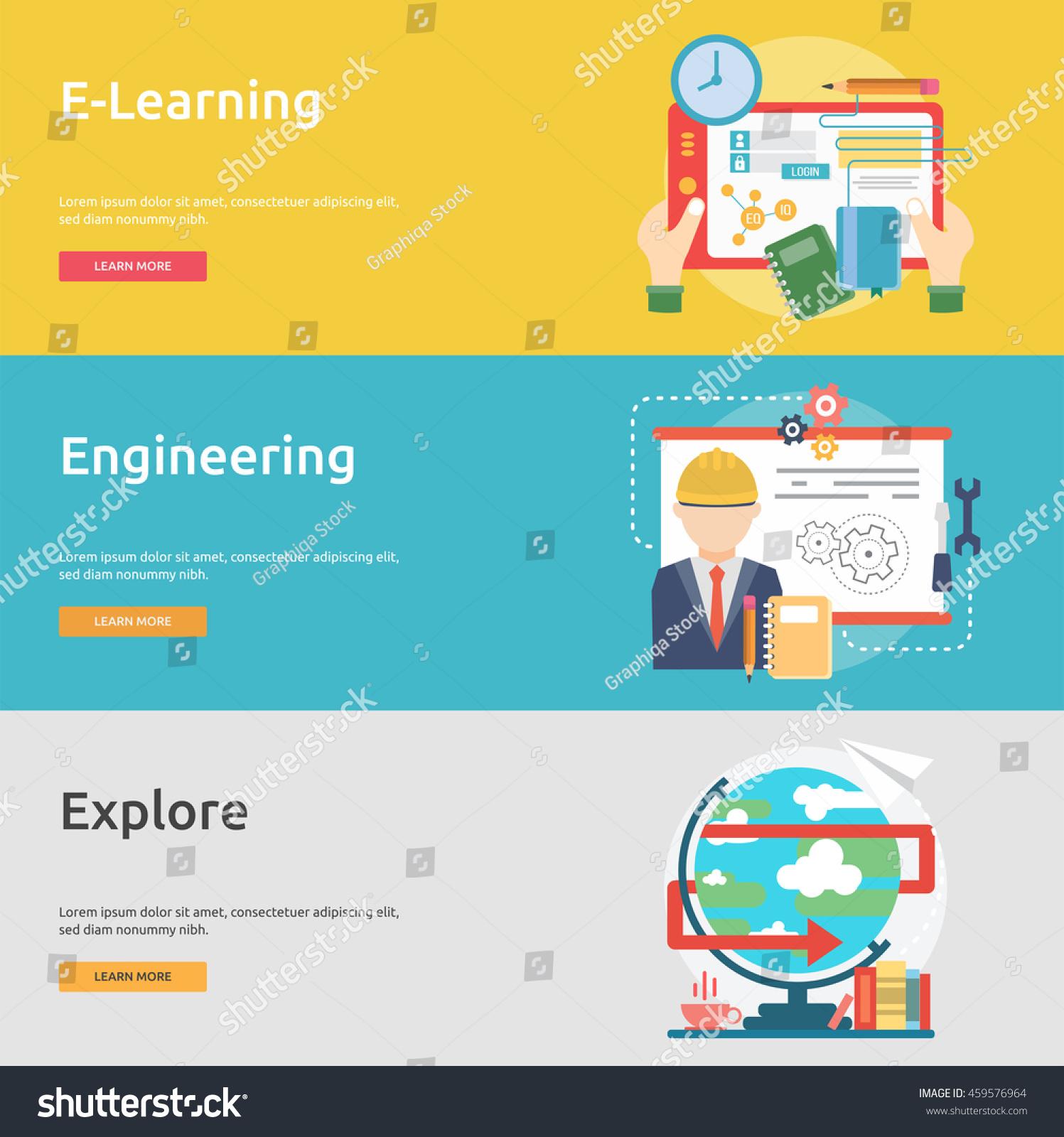 Creative Process Conceptual Design Banner Set Stock Vector Royalty Free 459576964