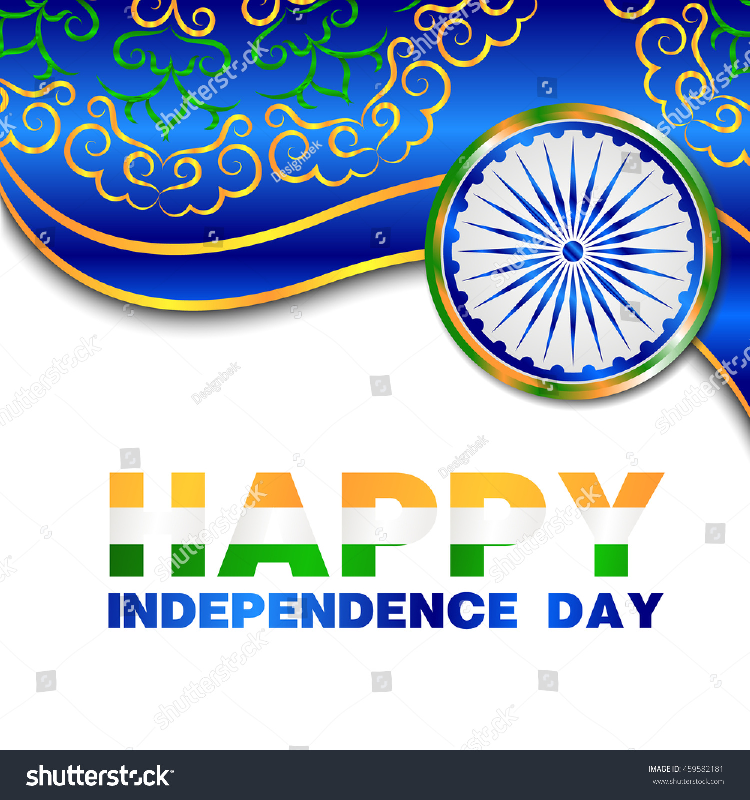 Happy Independence Day India Greeting Card Stock Vector Royalty