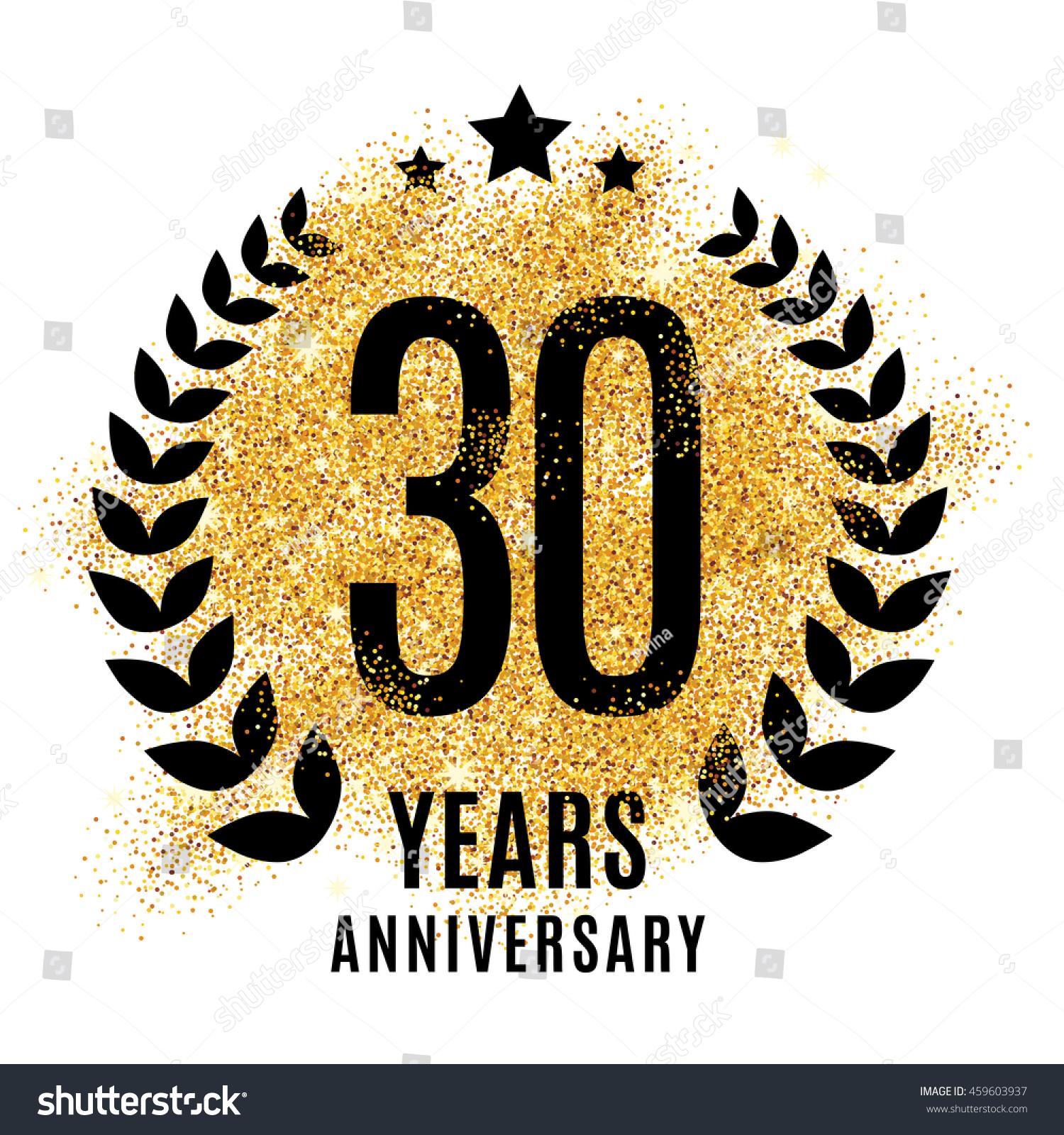 30 Year Anniversary Symbol: Thirty Years Golden Anniversary Sign Gold Stock Vector