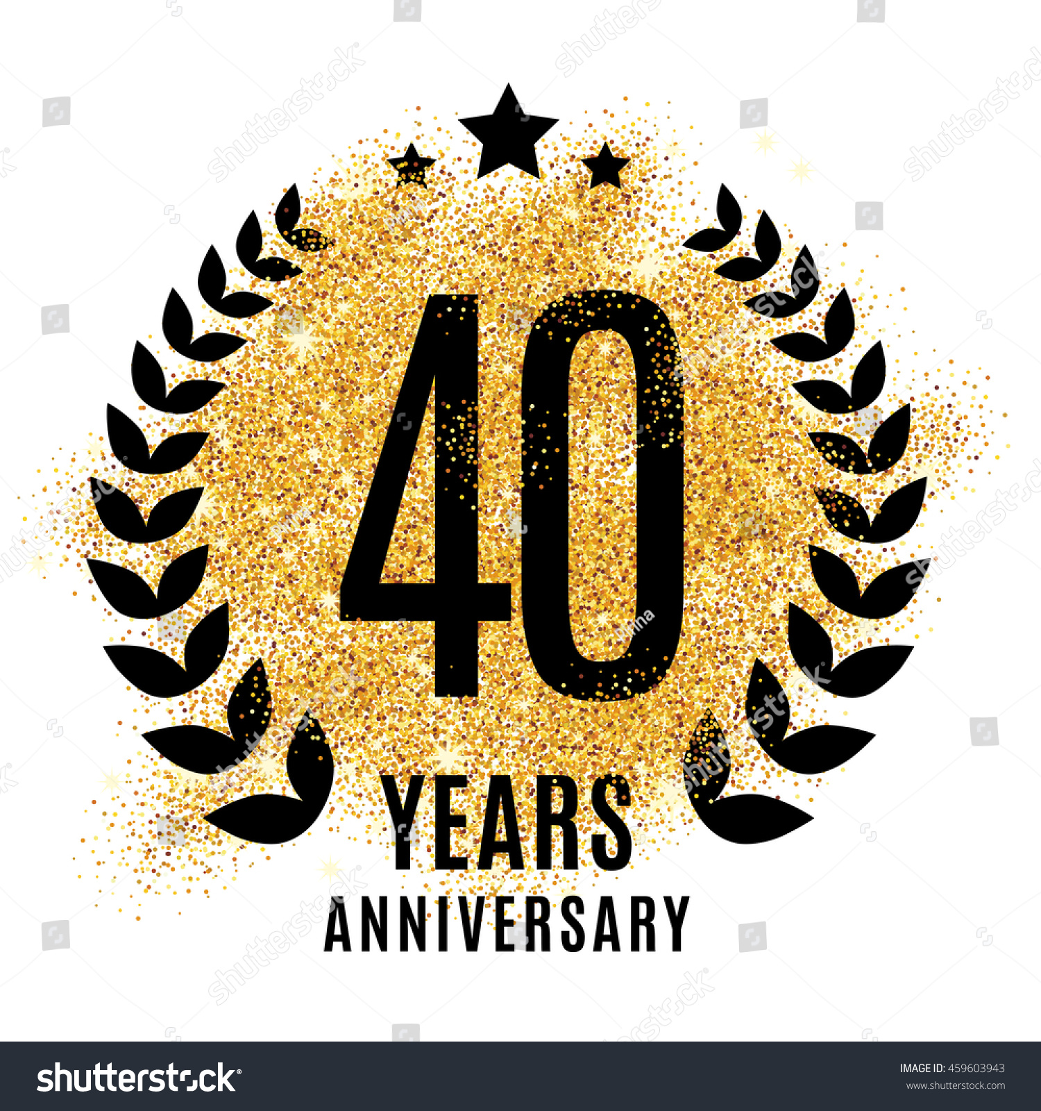 fourty years gold anniversary symbol 20th stock vector royalty free