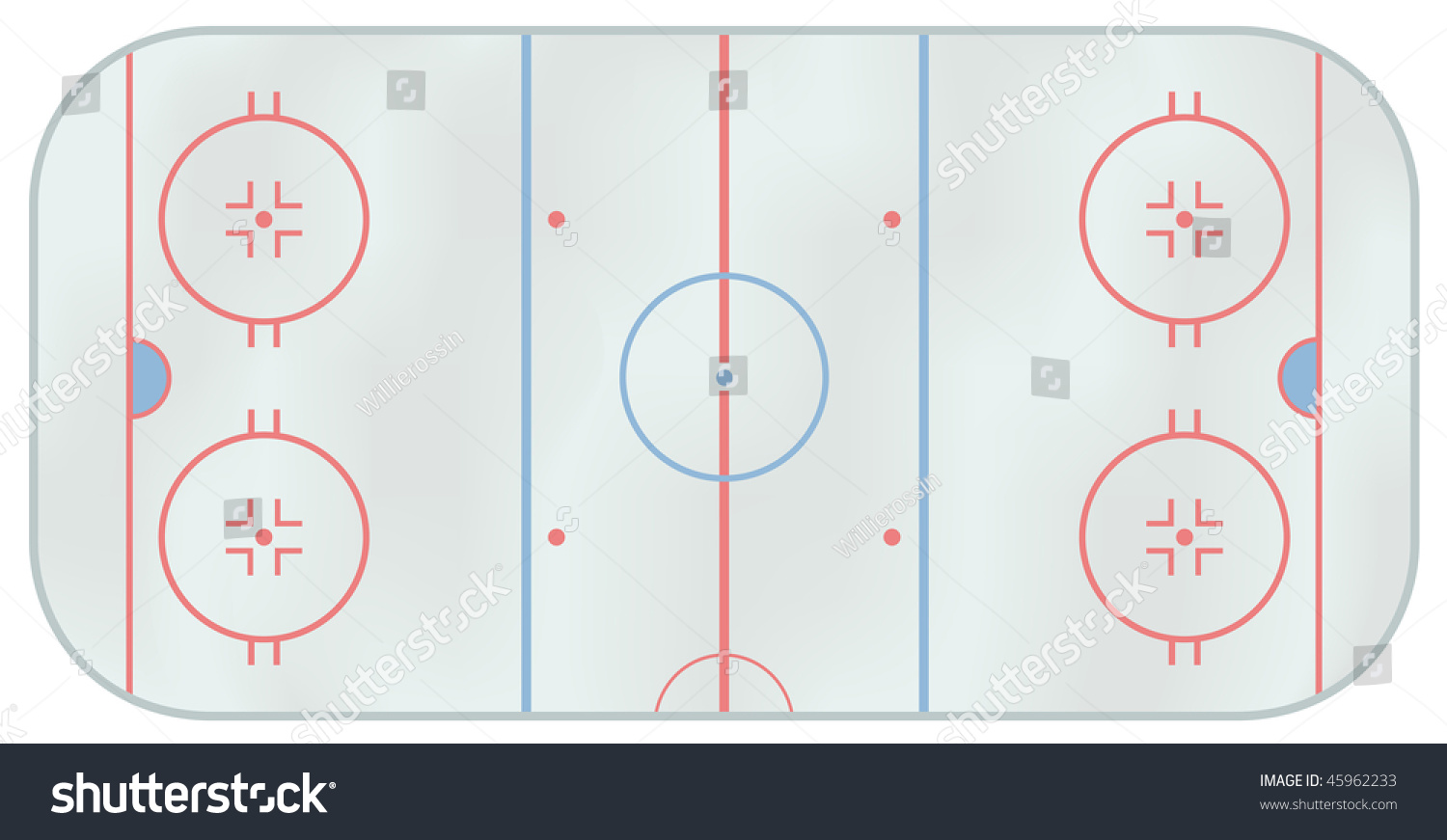 Computer Generated Illustration Ice Hockey Rink Stock Vector