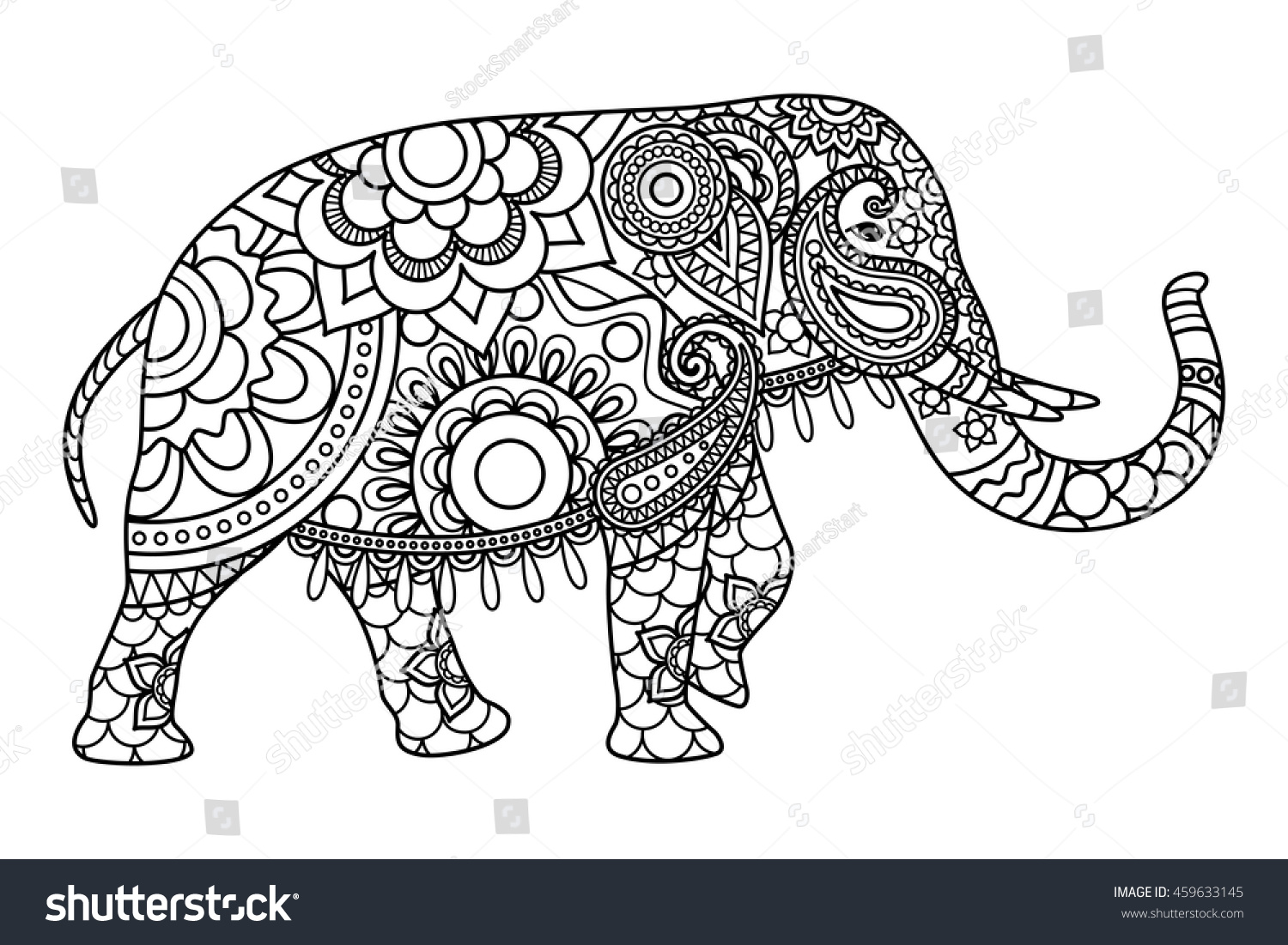 Indian Elephant Coloring Pages Template Vector Stock Vector ...
