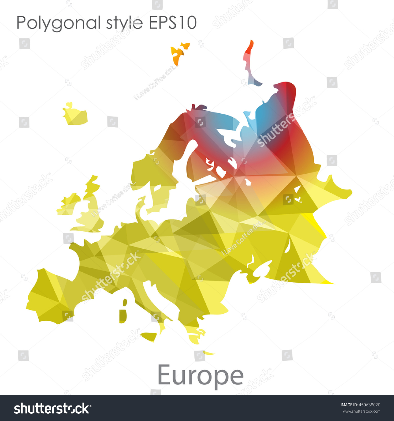 Europe Map Geometric Polygonal Style Abstract Gems Stock Vector ...